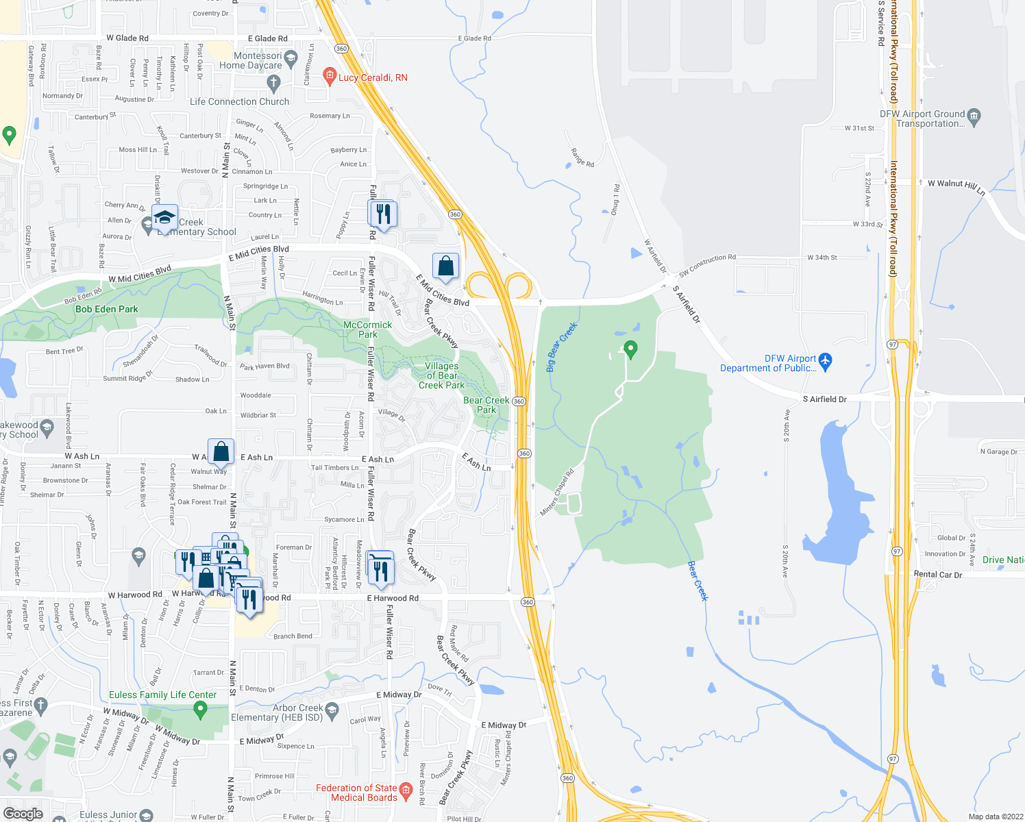 map of restaurants, bars, coffee shops, grocery stores, and more near 2001 Highway 360 in Euless