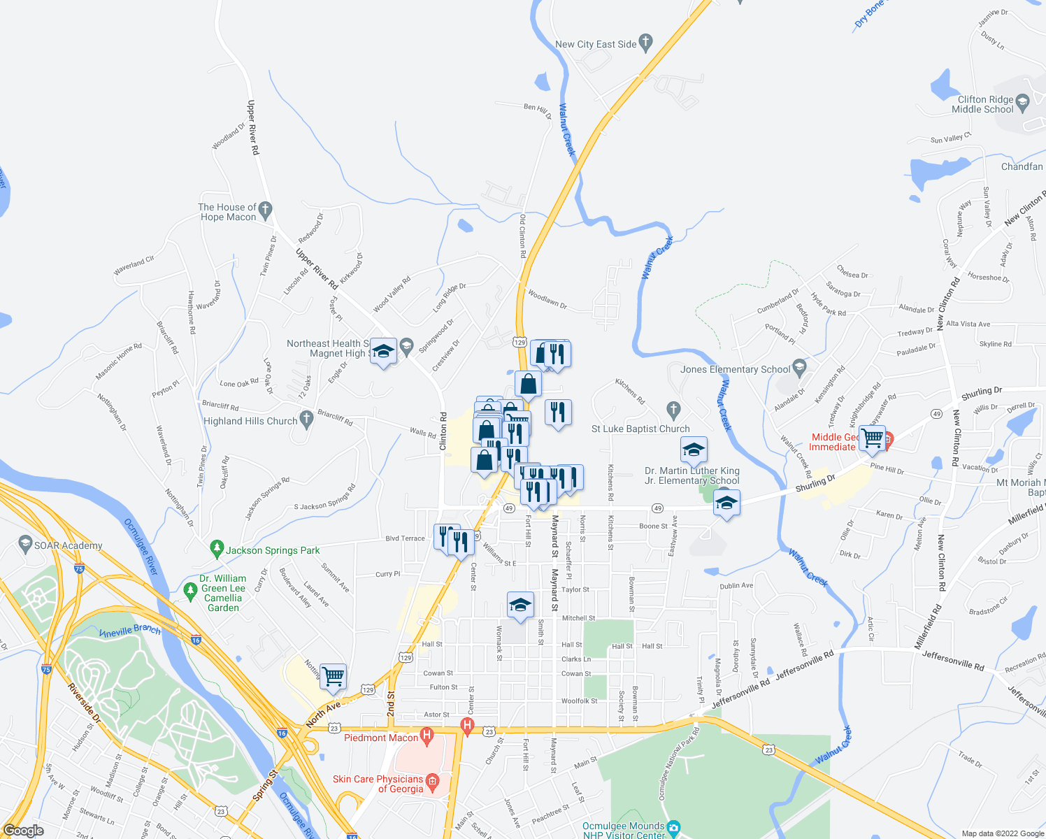 map of restaurants, bars, coffee shops, grocery stores, and more near 1424-1670 Gray Highway in Macon