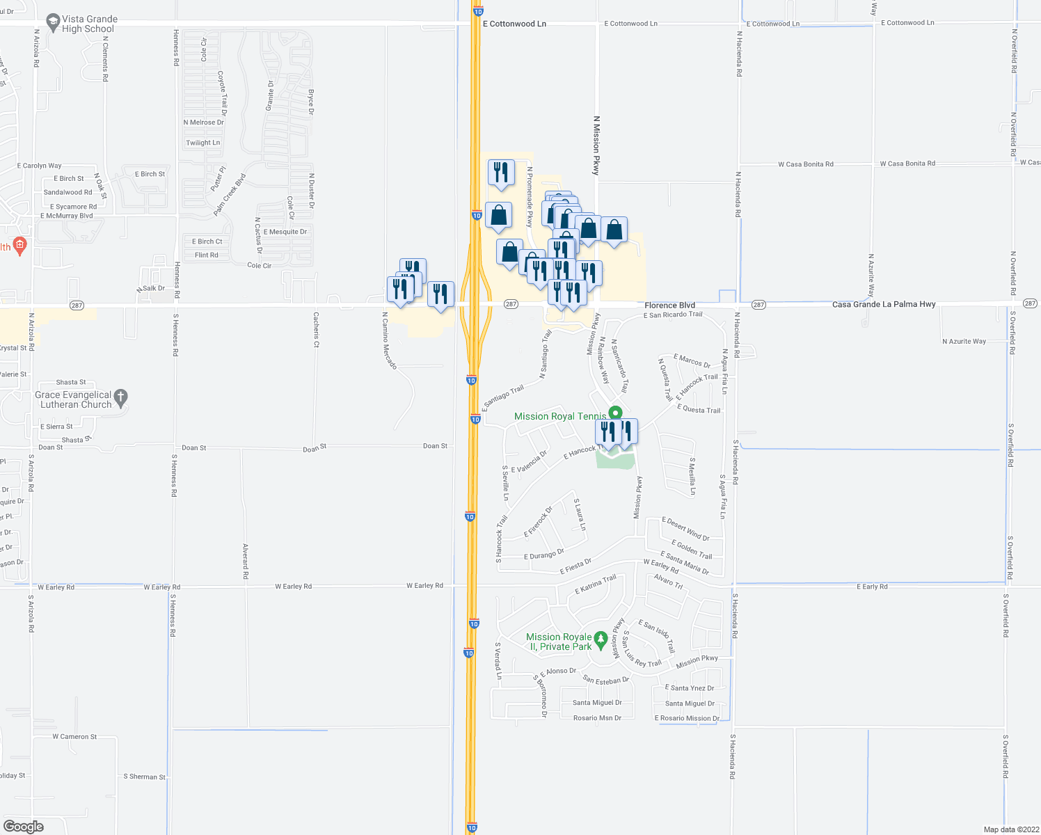 map of restaurants, bars, coffee shops, grocery stores, and more near 2392 East Antigua Drive in Casa Grande