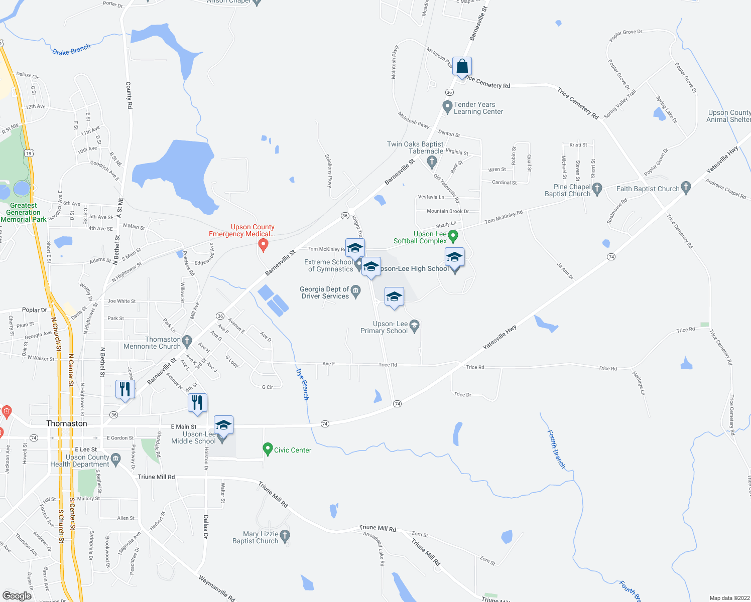 map of restaurants, bars, coffee shops, grocery stores, and more near Knight Trail in Thomaston