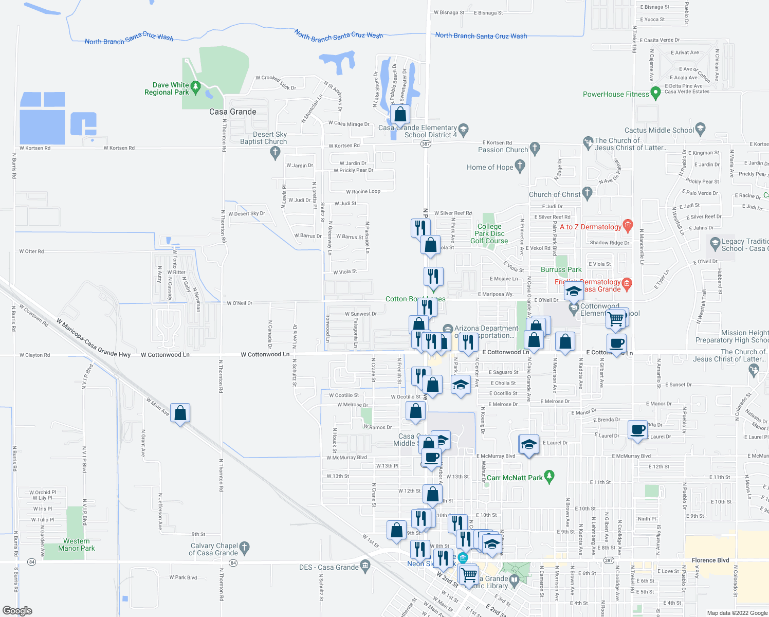 map of restaurants, bars, coffee shops, grocery stores, and more near 450 W Sunwest Dr in Casa Grande