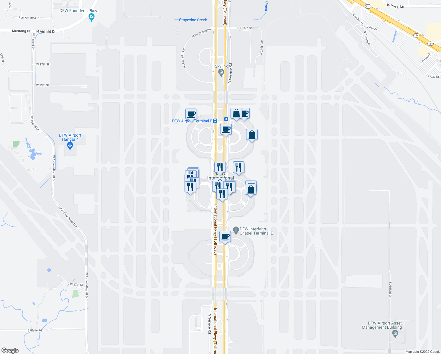 map of restaurants, bars, coffee shops, grocery stores, and more near 2400 Aviation Drive in DFW Airport