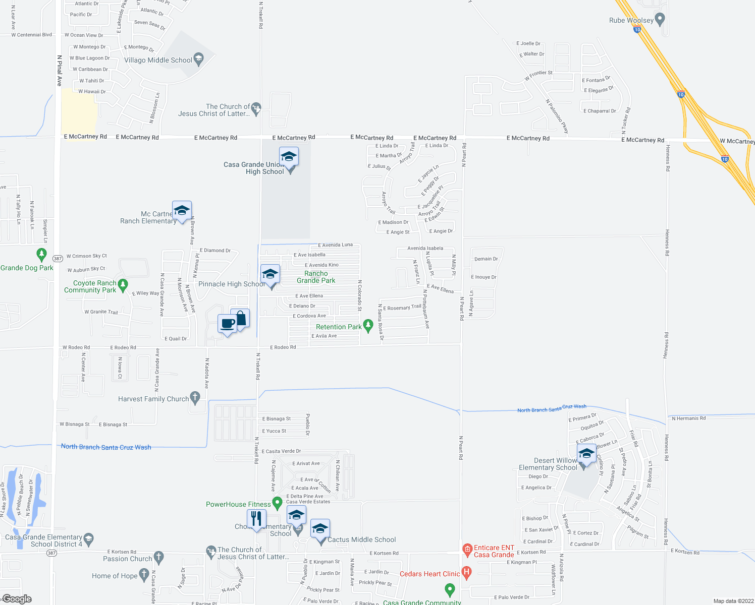 map of restaurants, bars, coffee shops, grocery stores, and more near 2477 North Santa Rosa Drive in Casa Grande