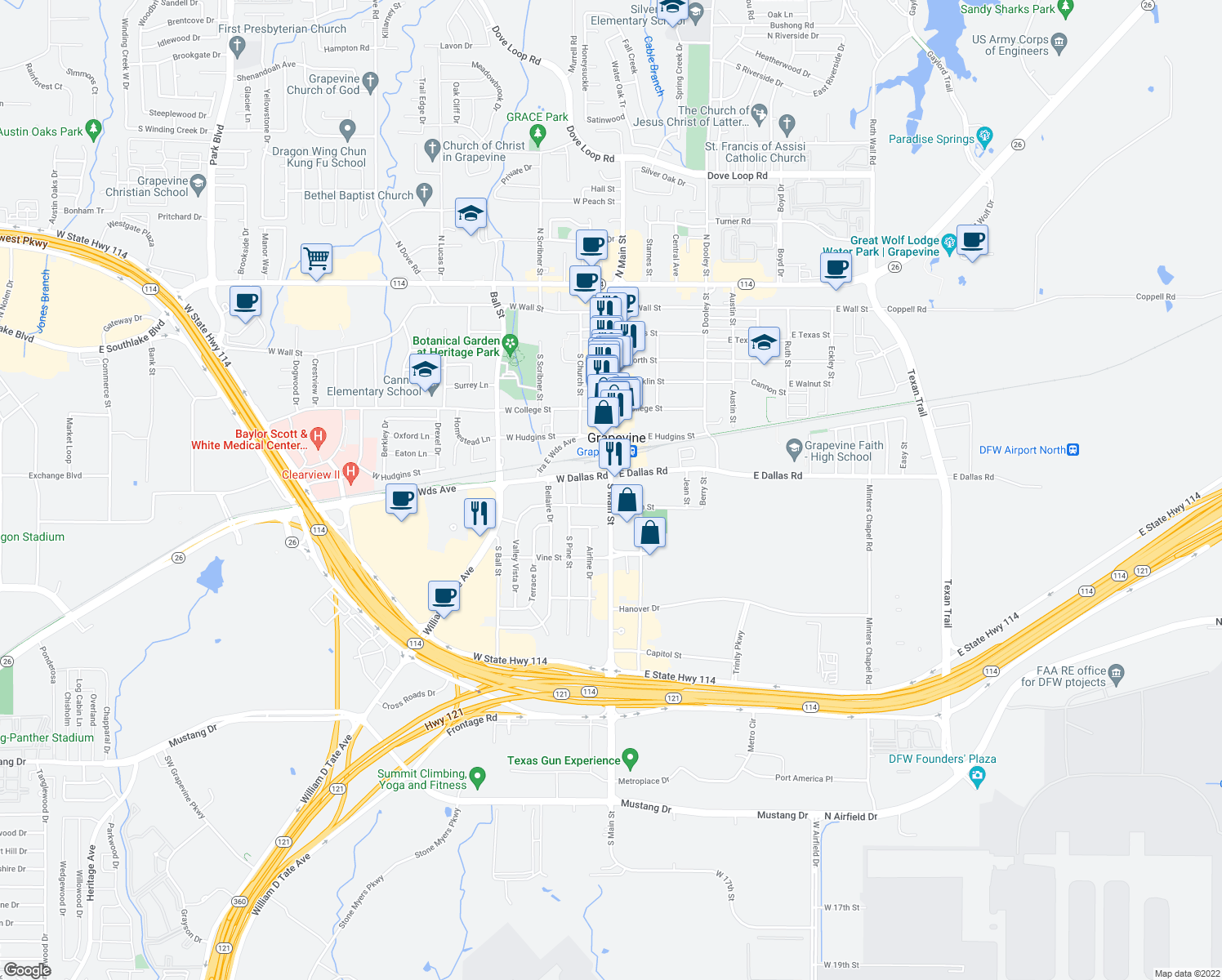 map of restaurants, bars, coffee shops, grocery stores, and more near 900 South Main Street in Grapevine
