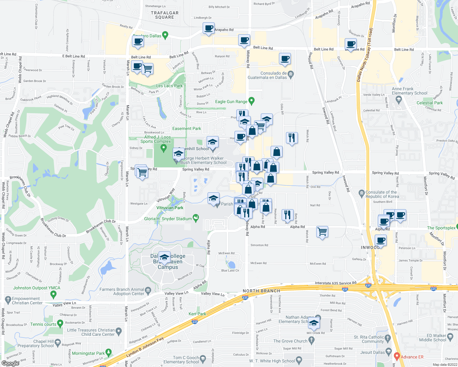 map of restaurants, bars, coffee shops, grocery stores, and more near 4000 Traffic Circle in Farmers Branch