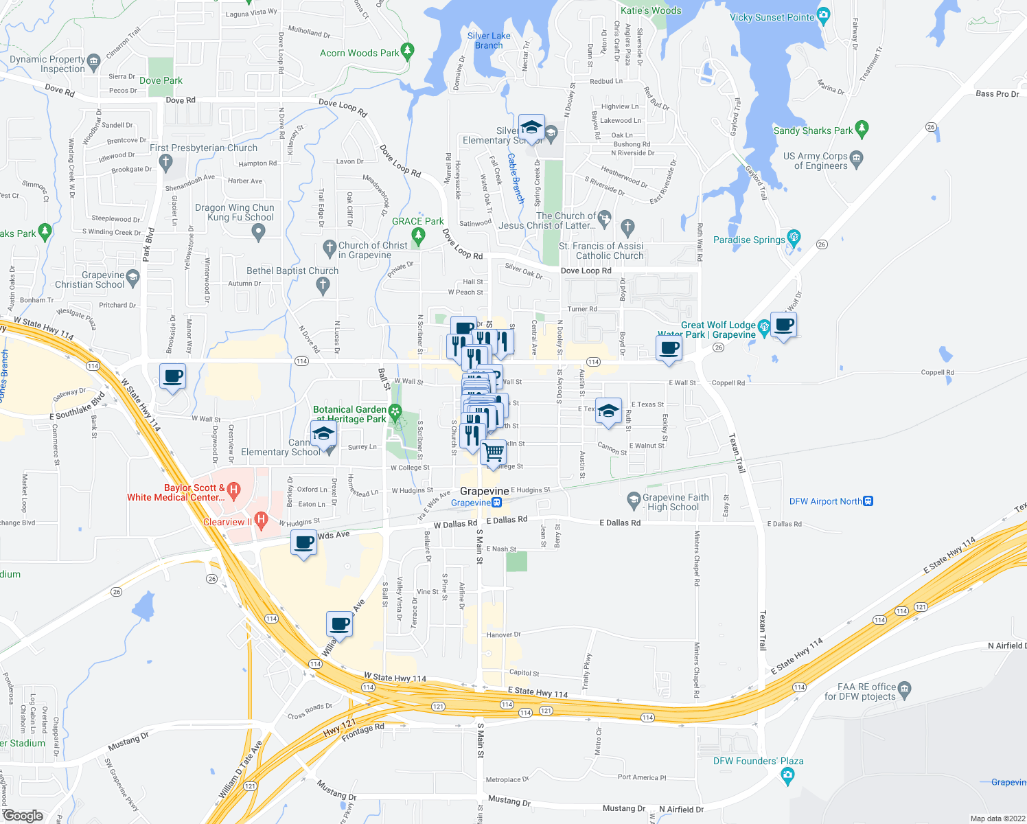 map of restaurants, bars, coffee shops, grocery stores, and more near 308 Smith Street in Grapevine