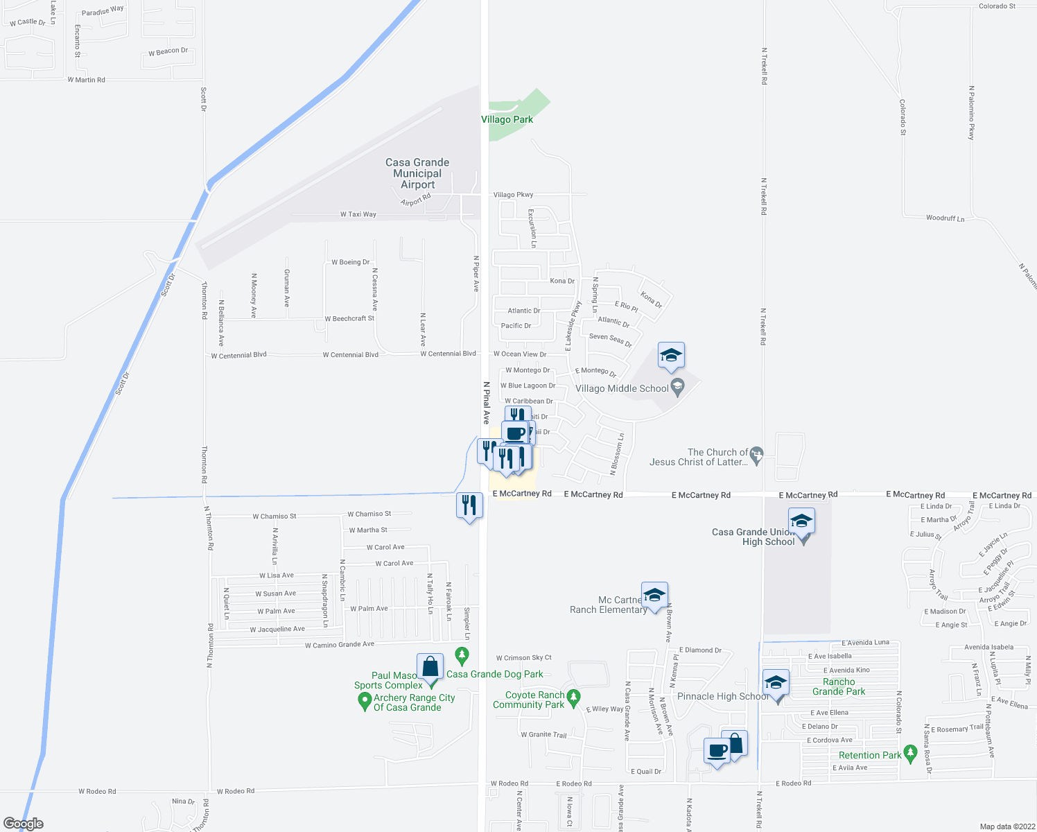 map of restaurants, bars, coffee shops, grocery stores, and more near 264 West Tahiti Drive in Casa Grande