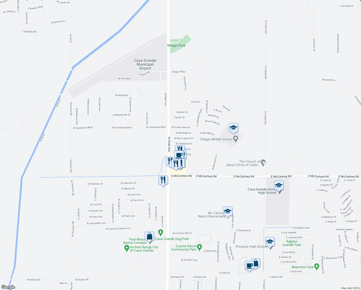 map of restaurants, bars, coffee shops, grocery stores, and more near 259 West Caribbean Drive in Casa Grande