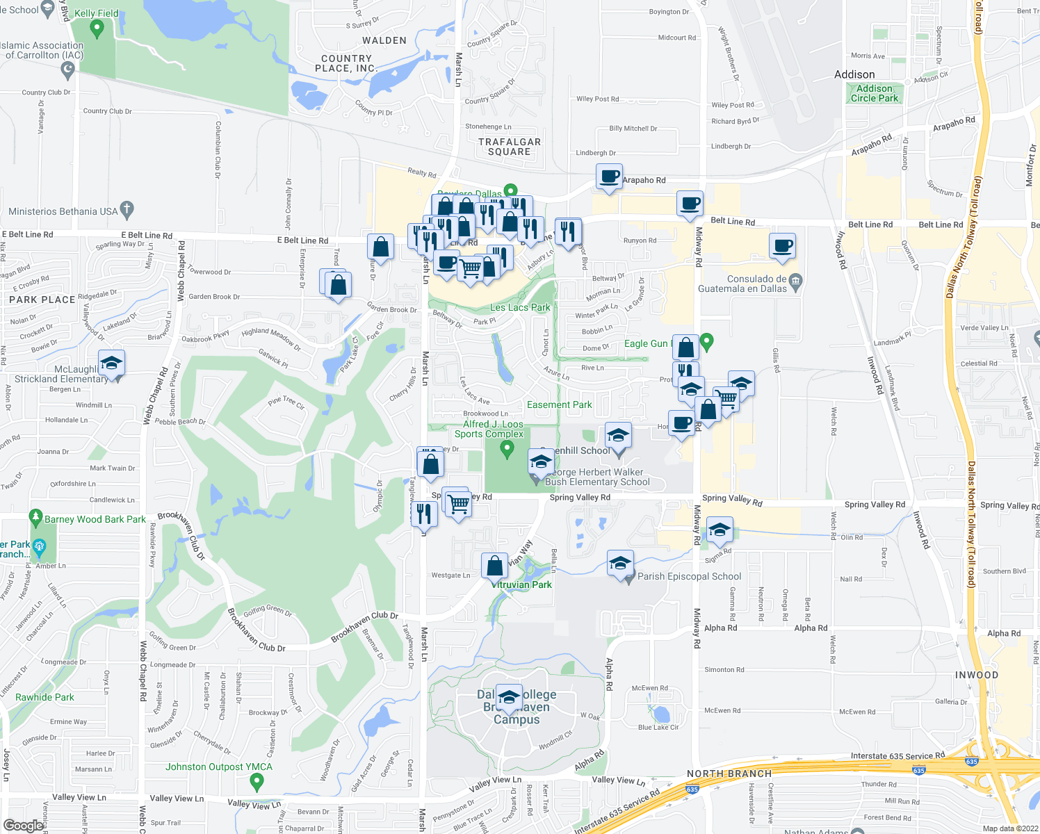 map of restaurants, bars, coffee shops, grocery stores, and more near 14597 Aspen Court in Addison