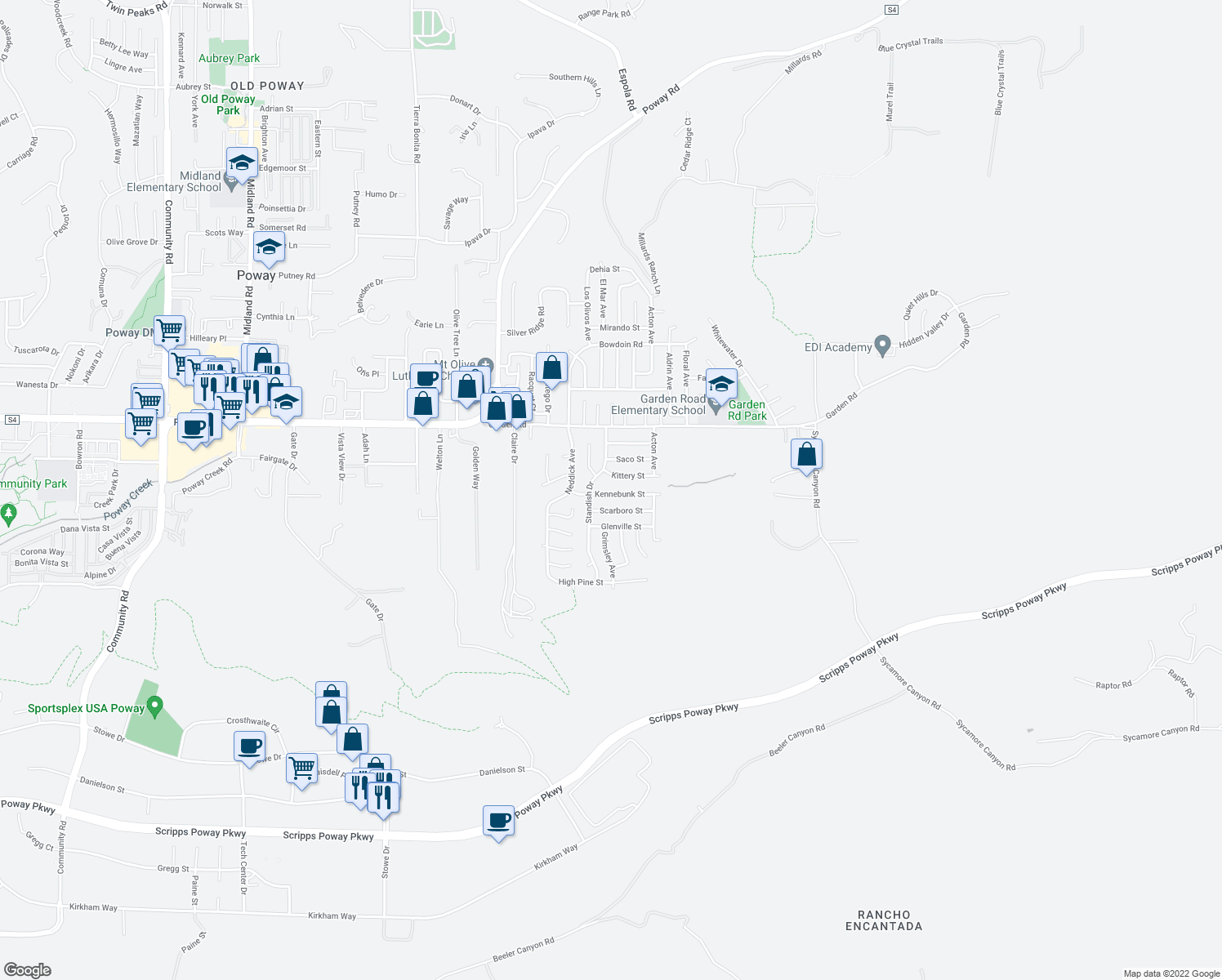 map of restaurants, bars, coffee shops, grocery stores, and more near 14526 Kennebunk Street in Poway