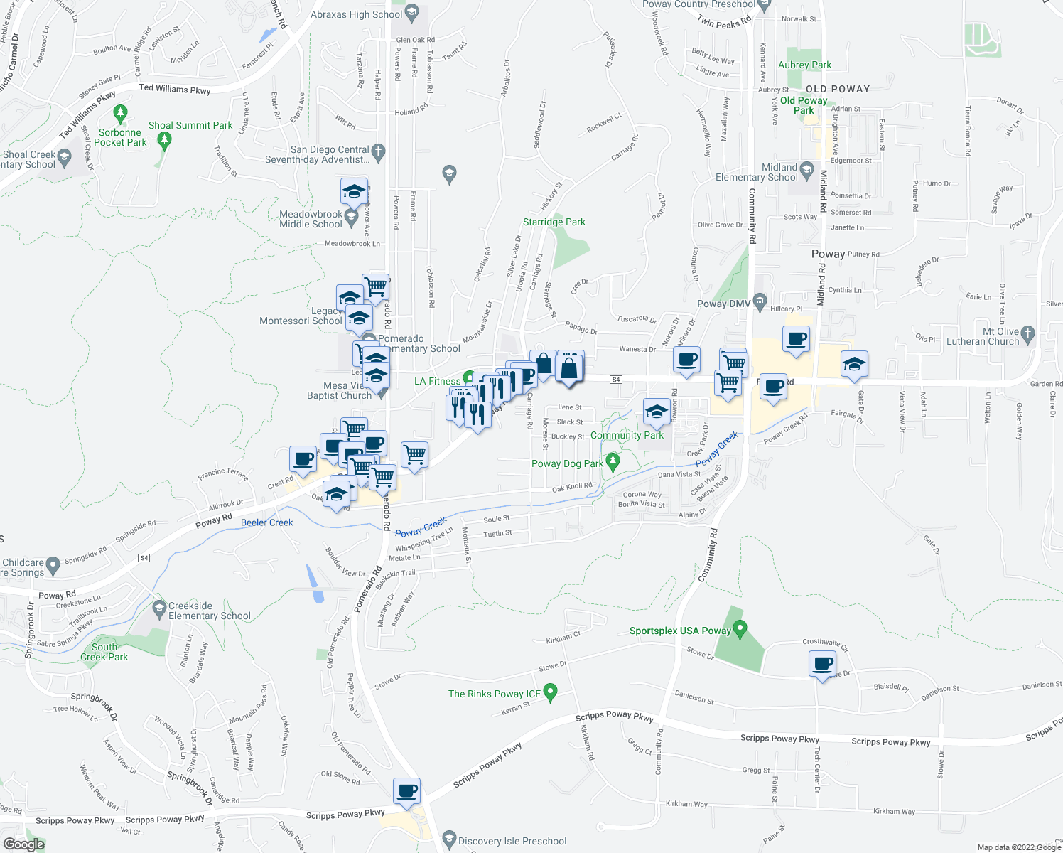 map of restaurants, bars, coffee shops, grocery stores, and more near 13052-13058 Carriage Road in Poway