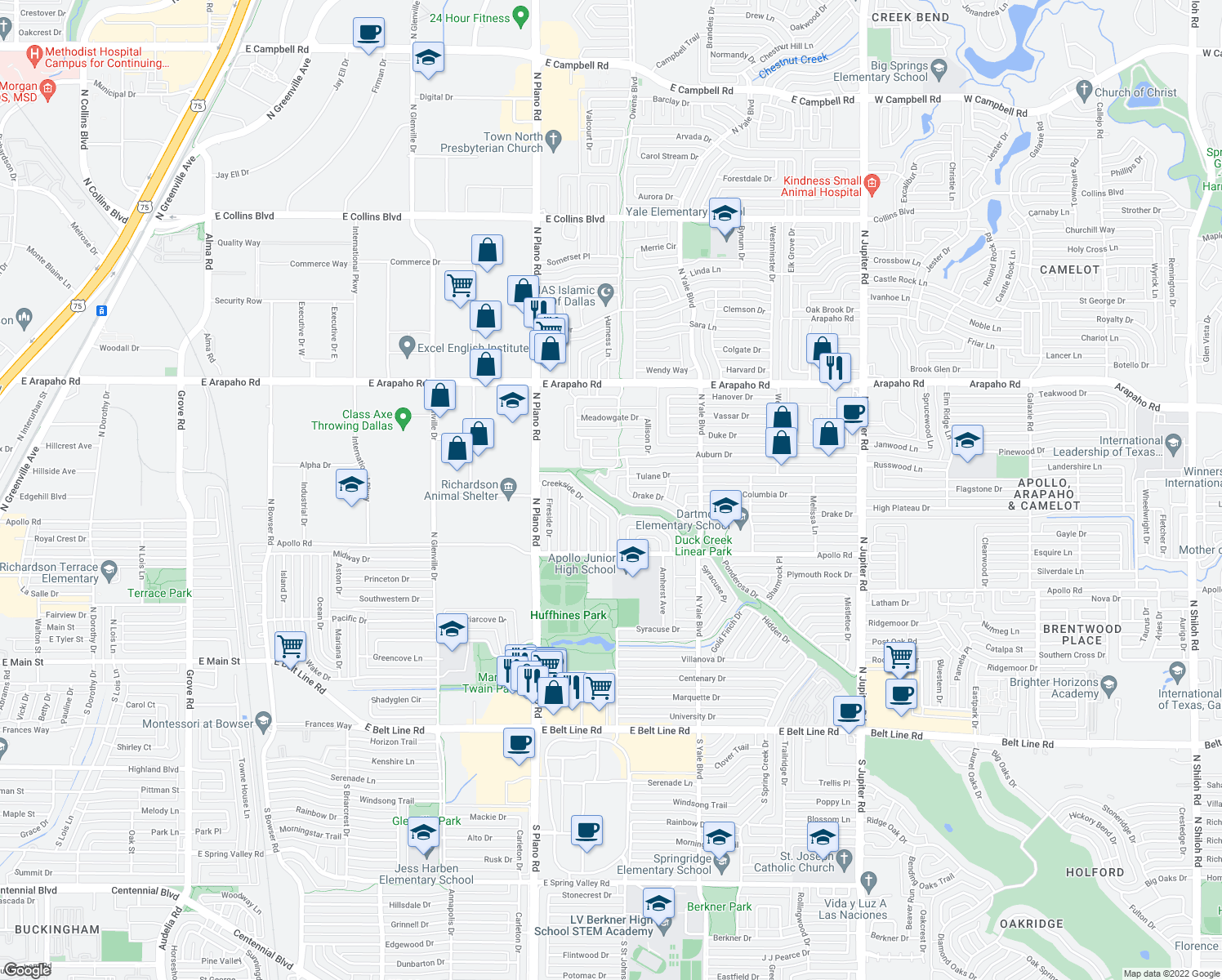 map of restaurants, bars, coffee shops, grocery stores, and more near in Richardson