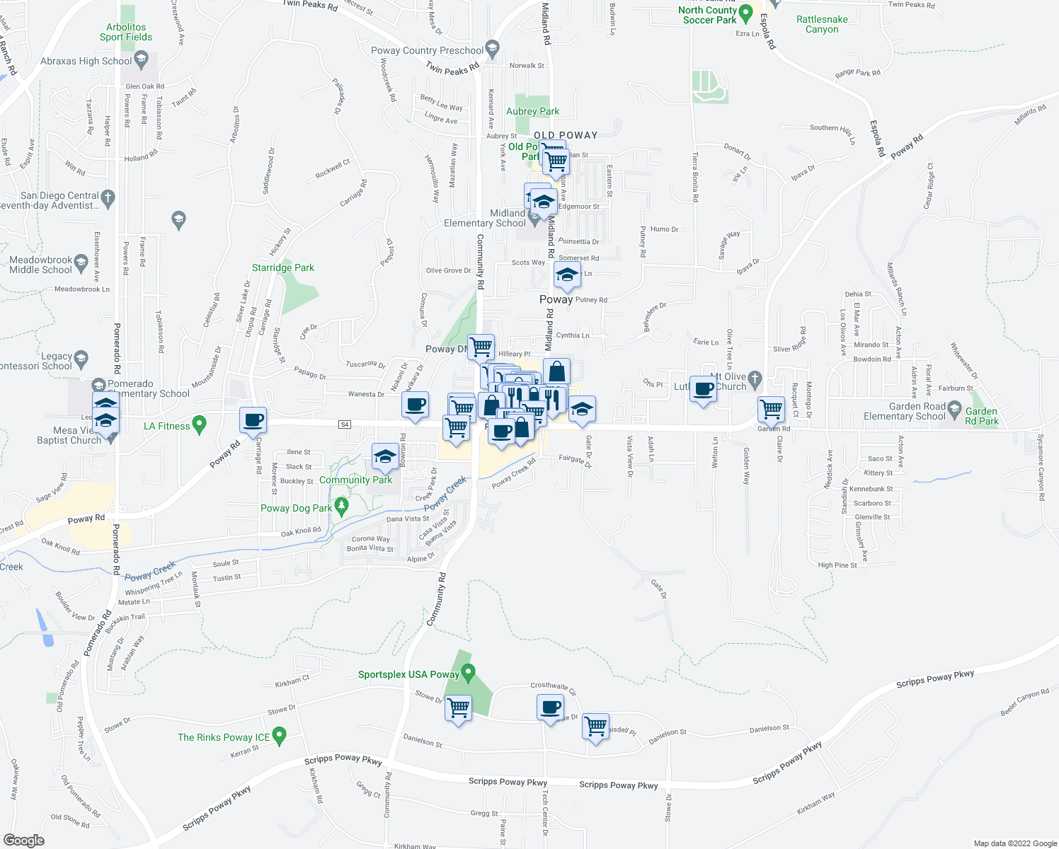 map of restaurants, bars, coffee shops, grocery stores, and more near Poway Road in Poway