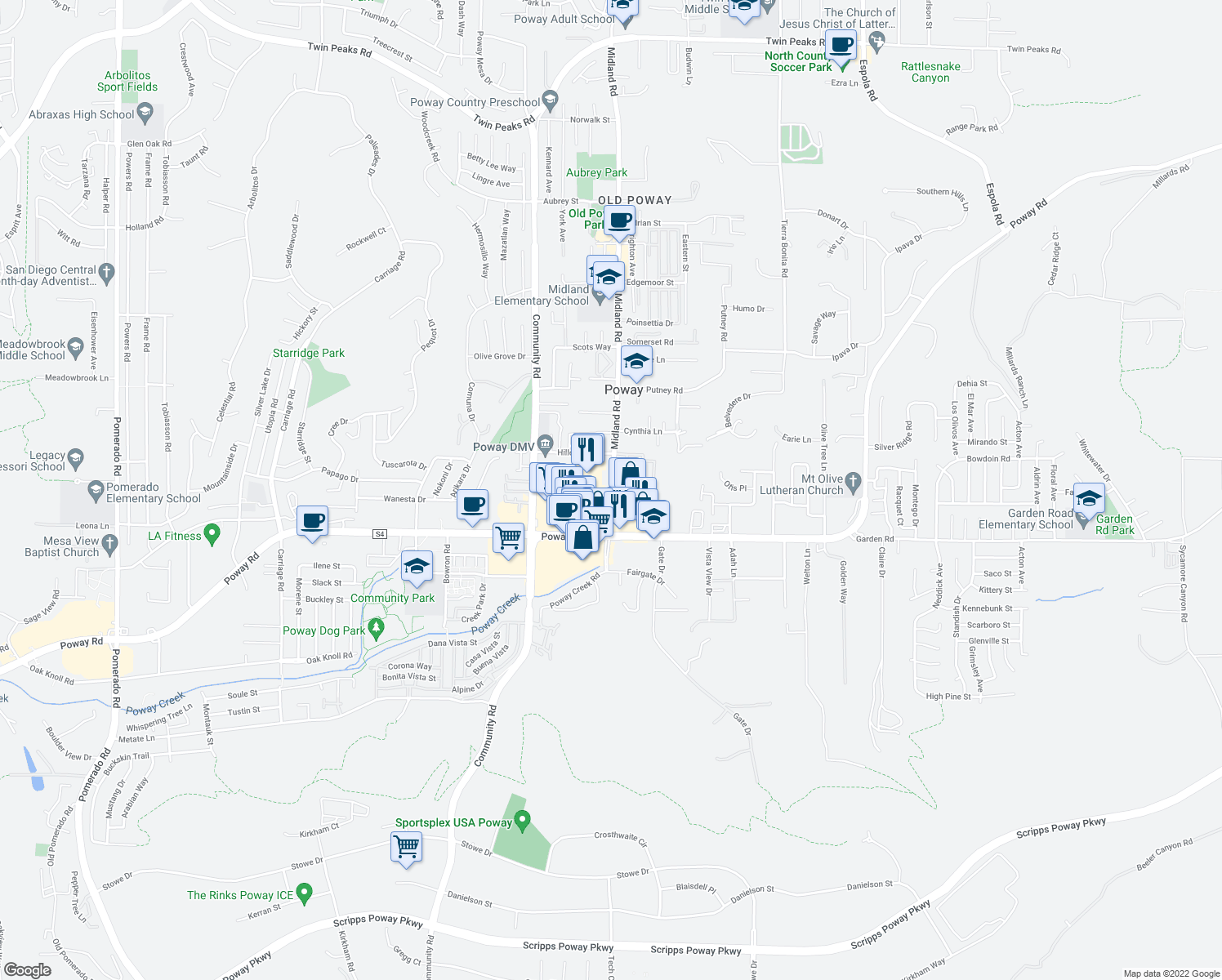 map of restaurants, bars, coffee shops, grocery stores, and more near in Poway