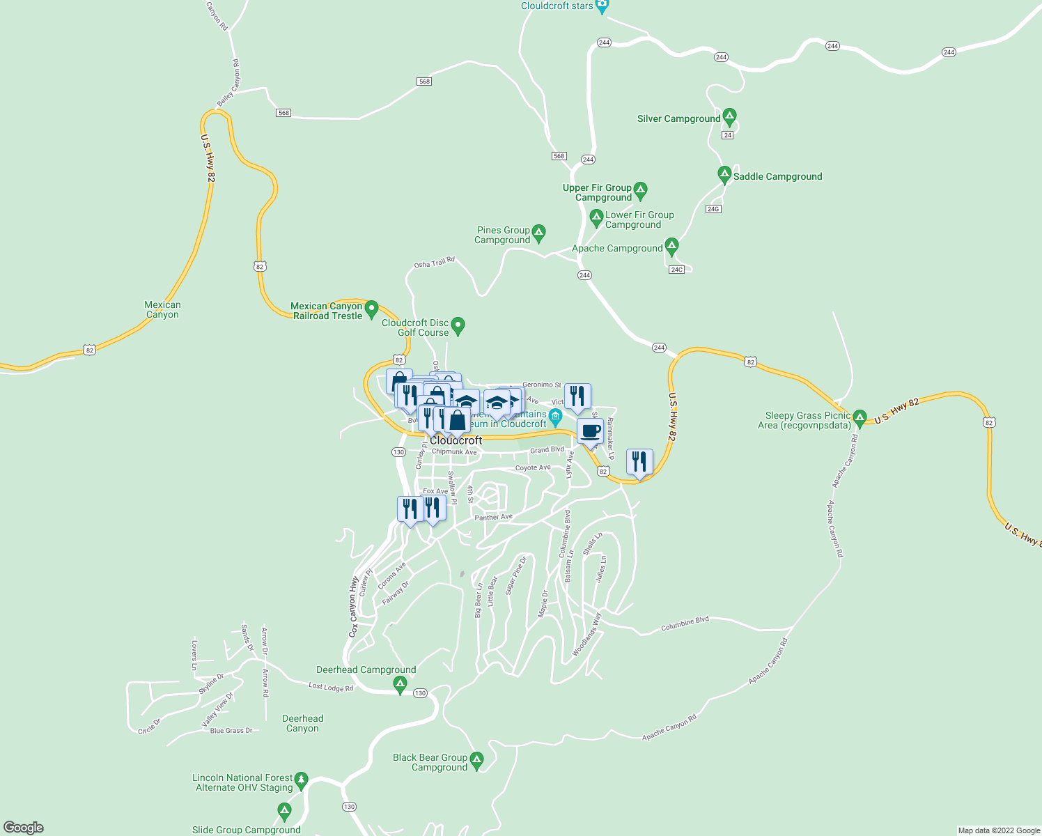 map of restaurants, bars, coffee shops, grocery stores, and more near James Canyon Highway in Cloudcroft