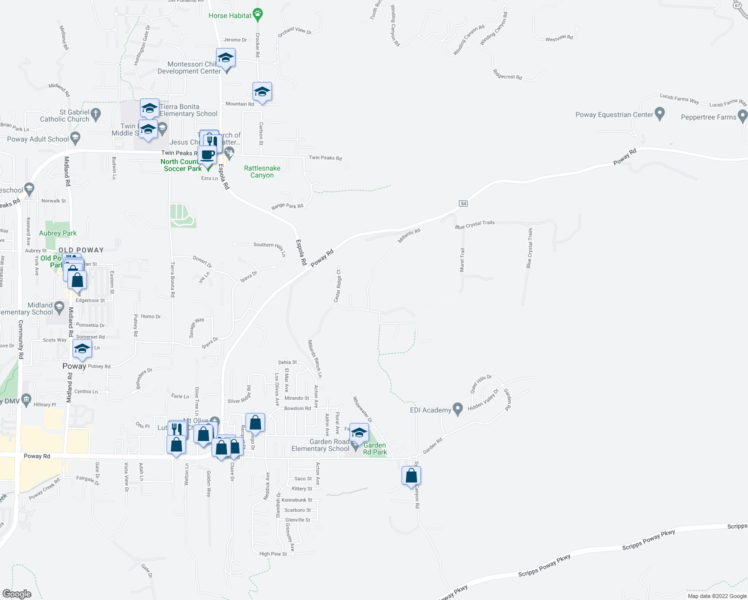 map of restaurants, bars, coffee shops, grocery stores, and more near 13888 Millards Ranch Lane in Poway