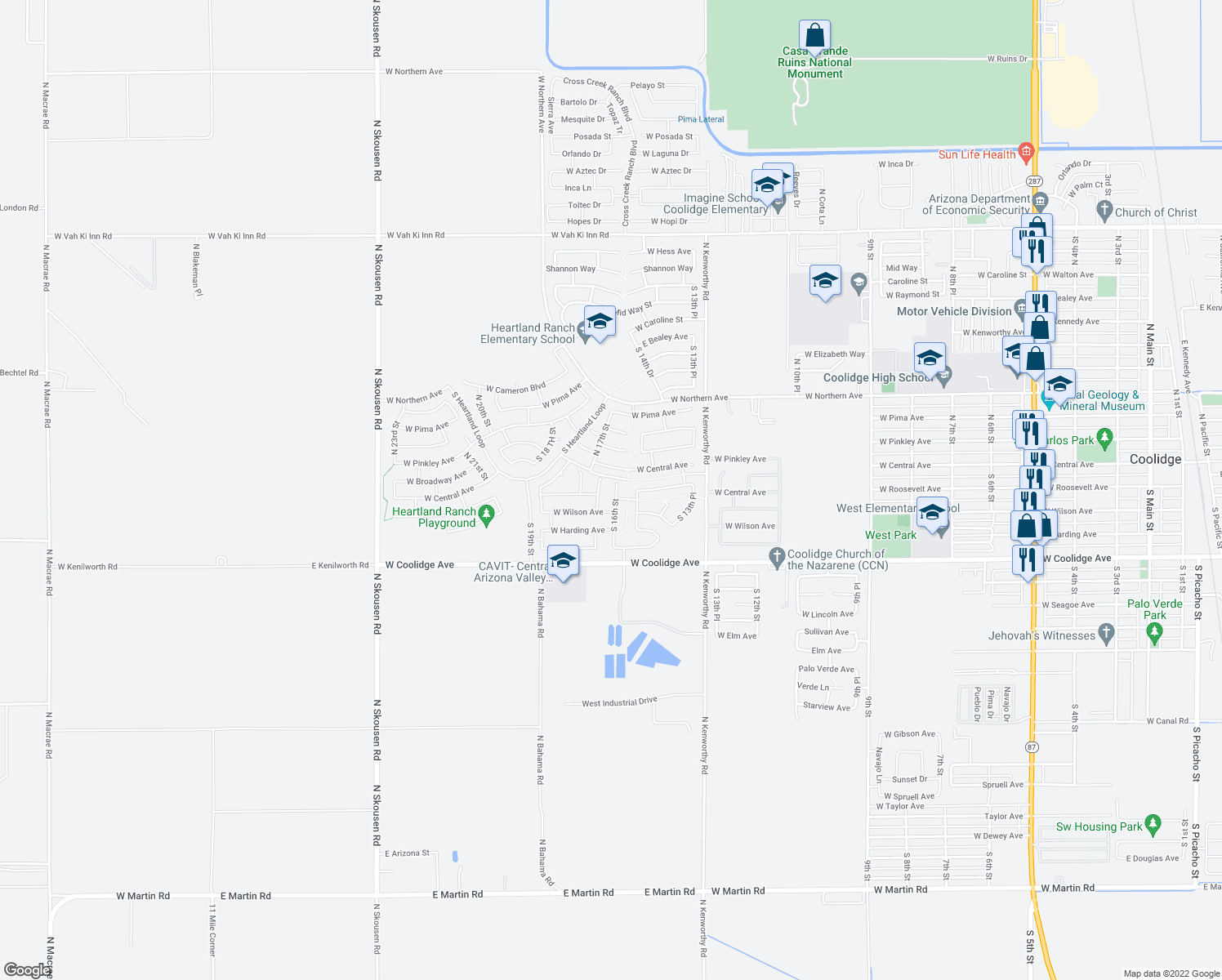 map of restaurants, bars, coffee shops, grocery stores, and more near 202 South 16th Street in Coolidge