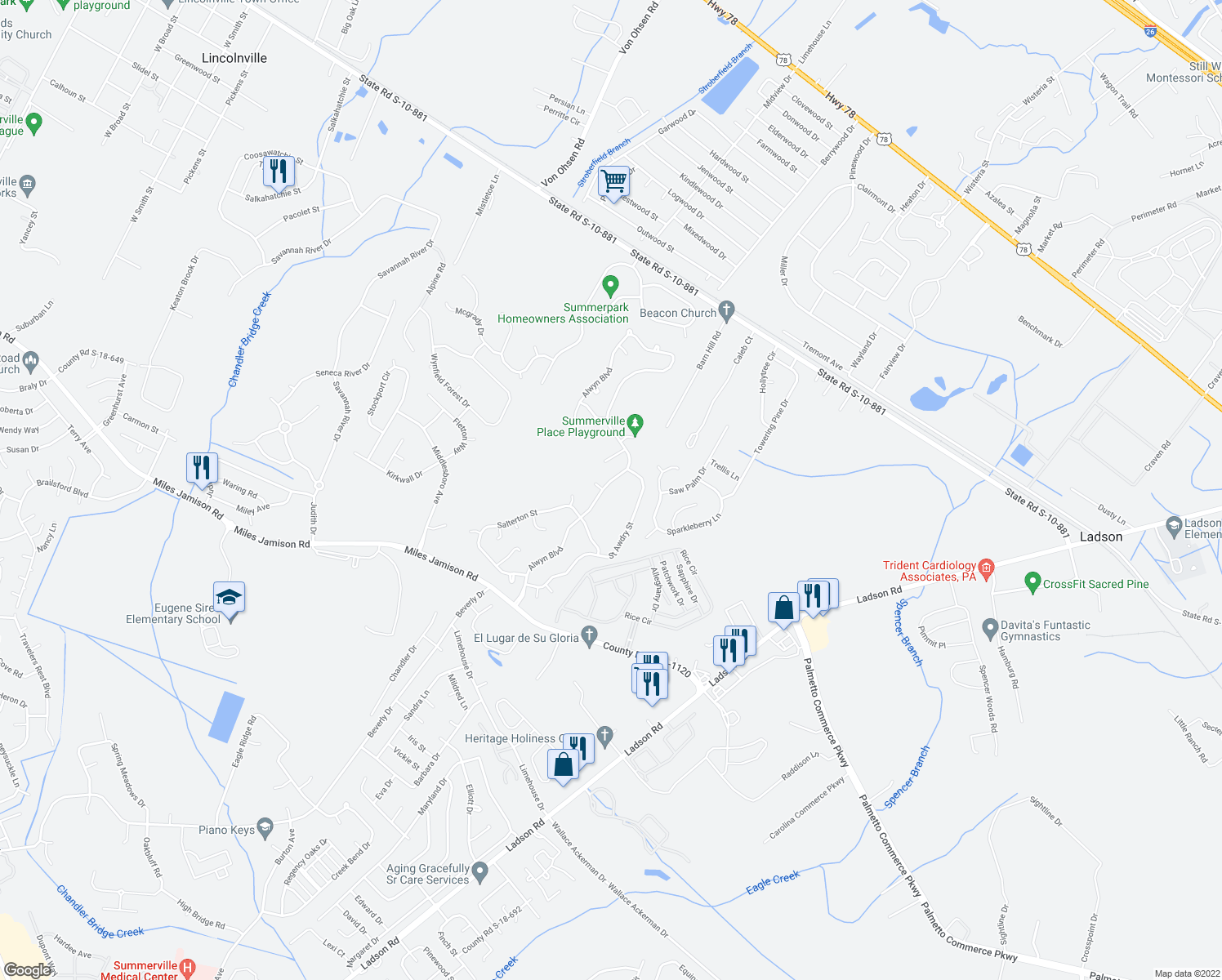 map of restaurants, bars, coffee shops, grocery stores, and more near 302 Alwyn Blvd in Summerville