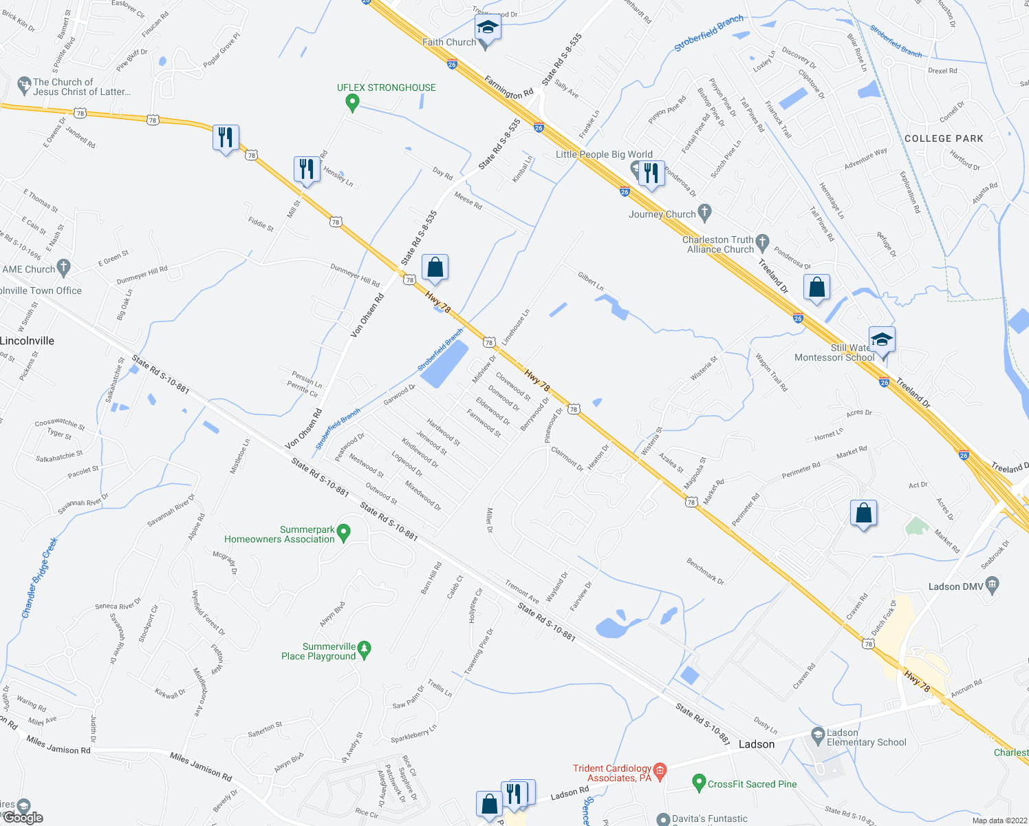 map of restaurants, bars, coffee shops, grocery stores, and more near 4415 Donwood Dr in Ladson