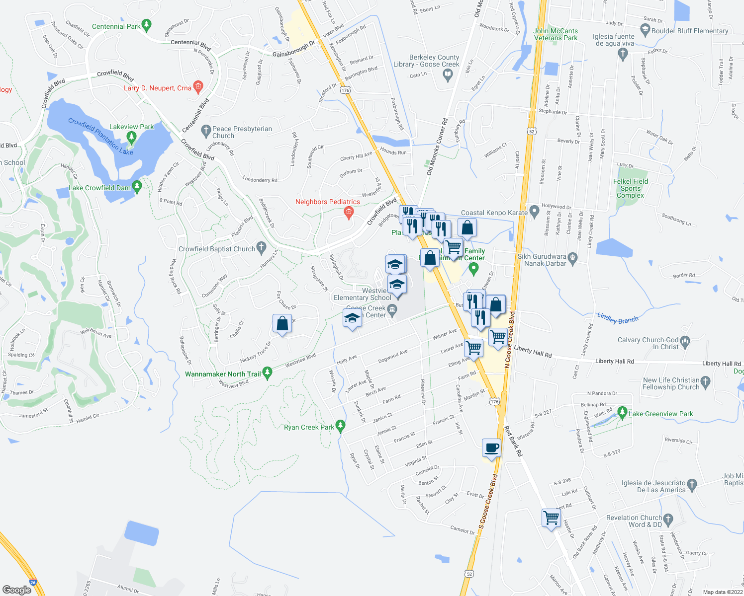 map of restaurants, bars, coffee shops, grocery stores, and more near 238 Alston Circle in Goose Creek