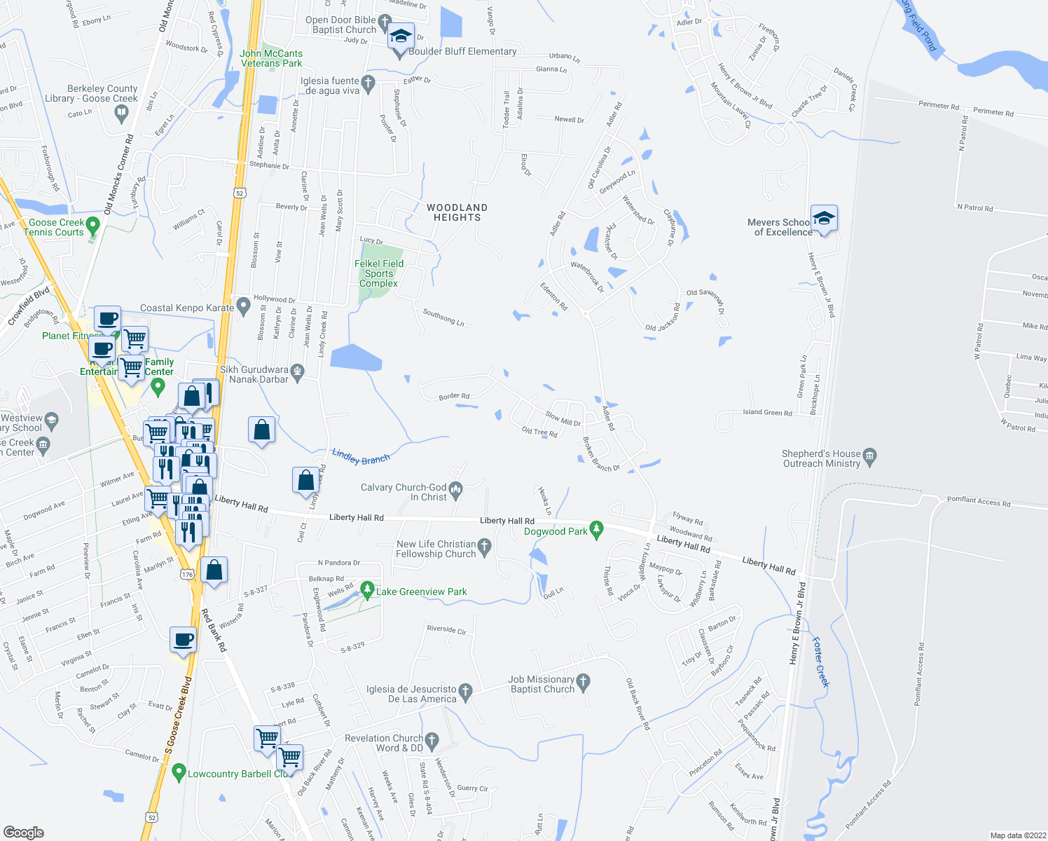 map of restaurants, bars, coffee shops, grocery stores, and more near 108 Concord Street in Goose Creek