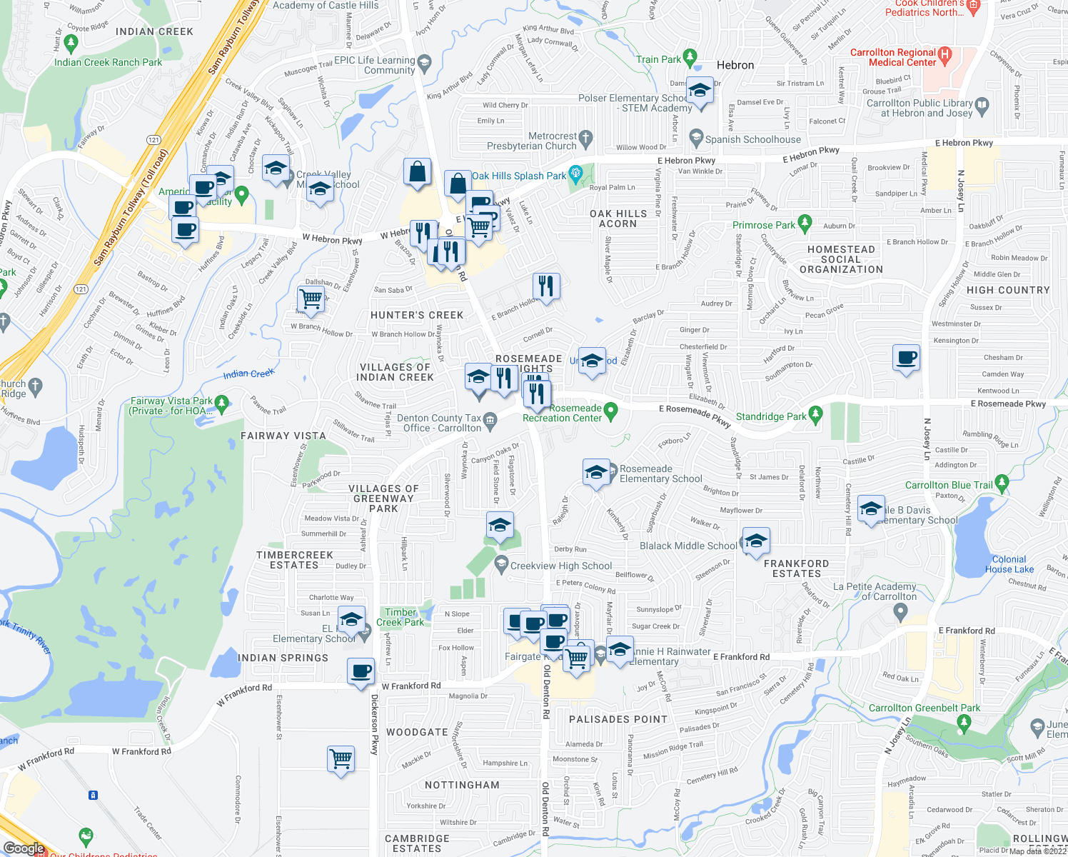 map of restaurants, bars, coffee shops, grocery stores, and more near 3660-3684 Old Denton Road in Carrollton