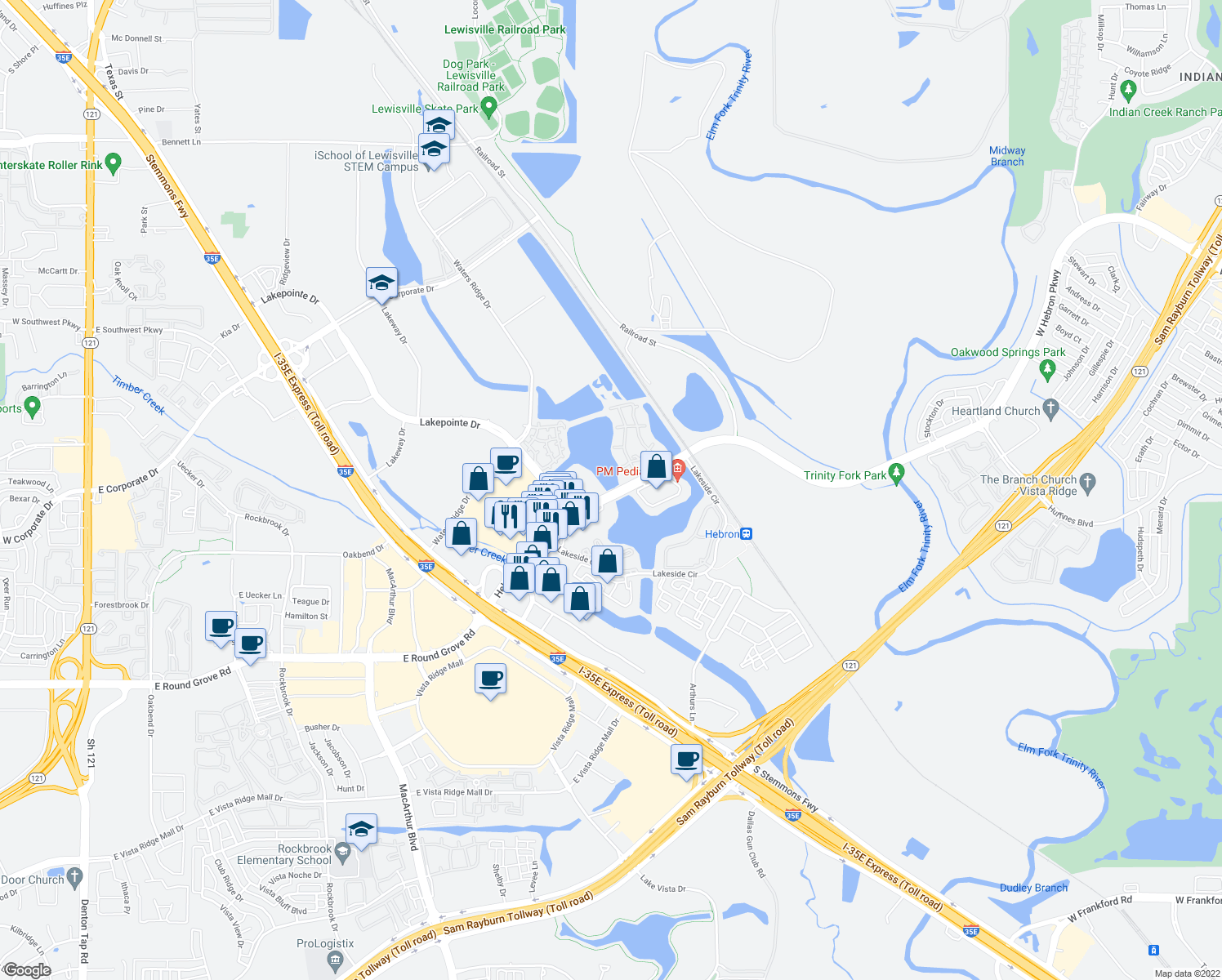 map of restaurants, bars, coffee shops, grocery stores, and more near 751 Hebron Parkway in Lewisville