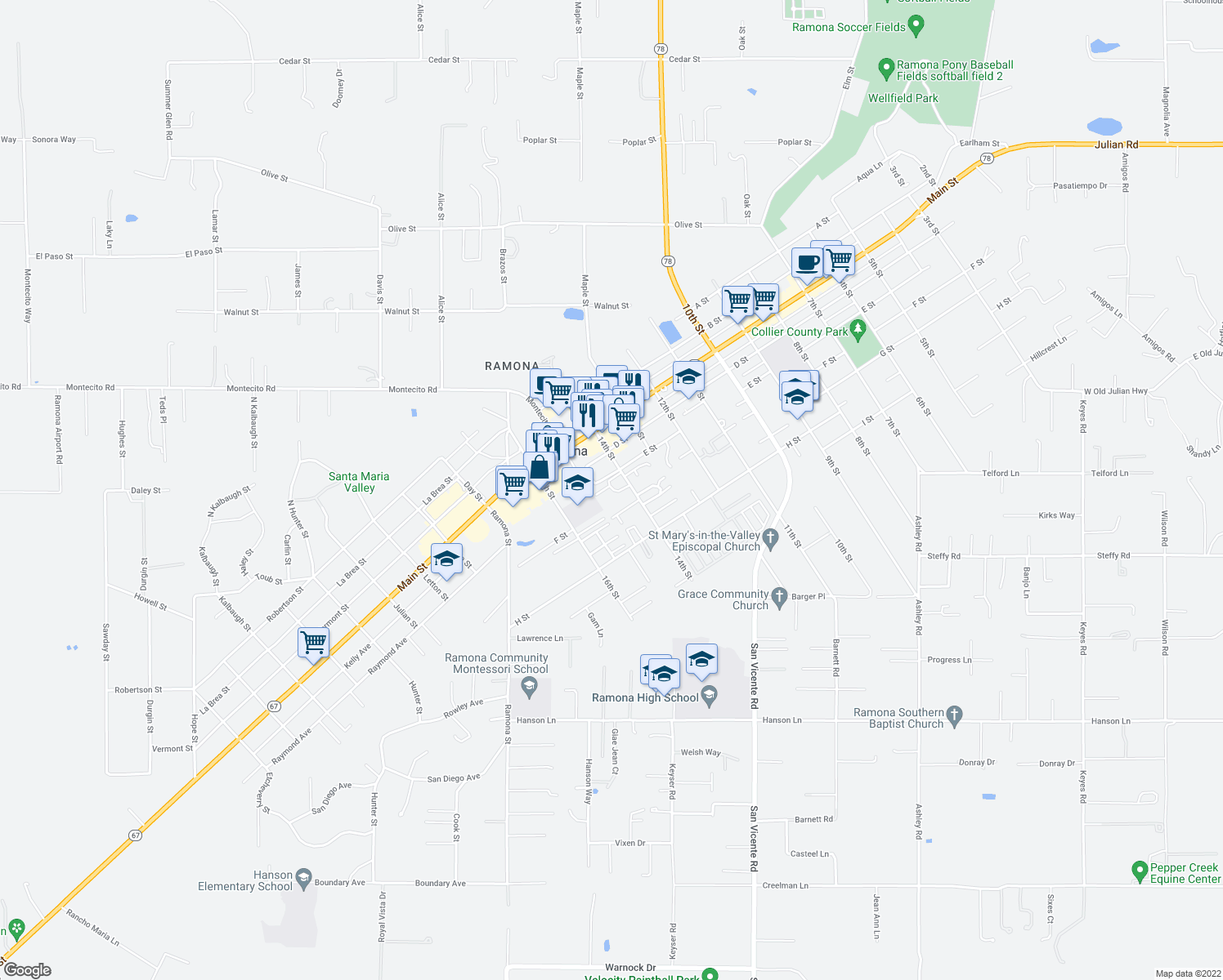map of restaurants, bars, coffee shops, grocery stores, and more near 511 14th Street in Ramona