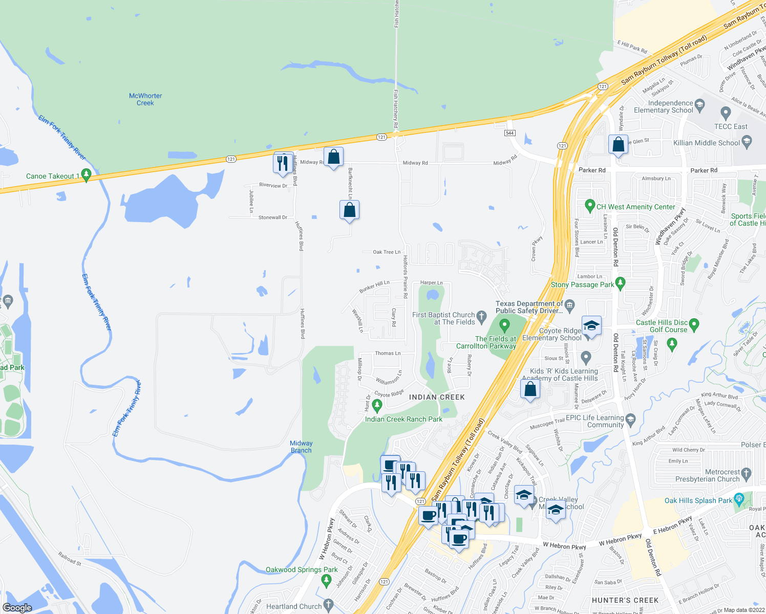 map of restaurants, bars, coffee shops, grocery stores, and more near 82 Oak Tree Estates Mobile Home Park in Lewisville