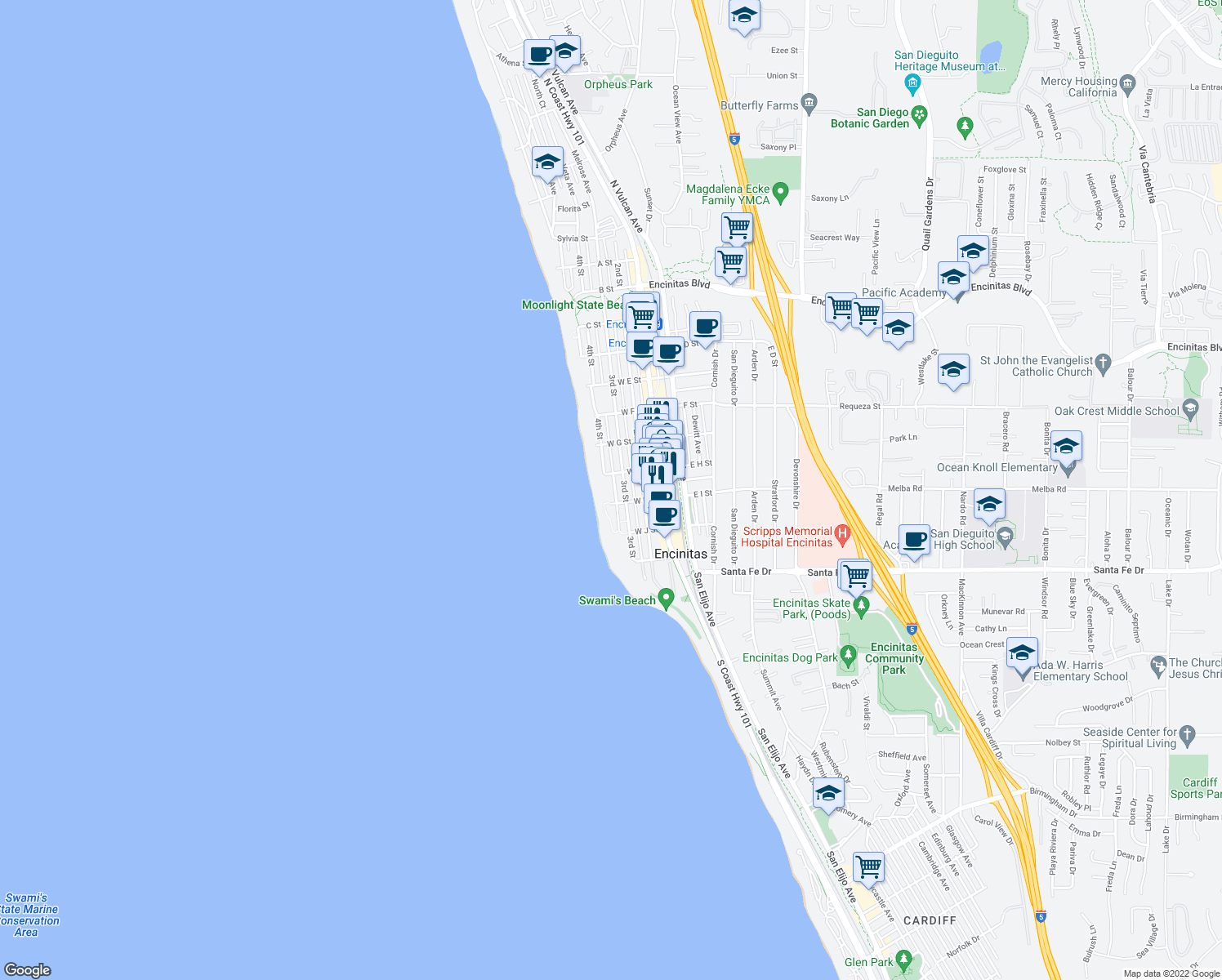map of restaurants, bars, coffee shops, grocery stores, and more near 940 Sealane Drive in Encinitas