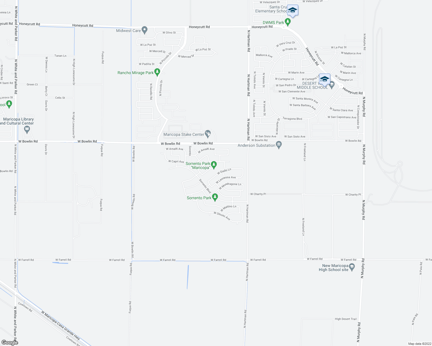 map of restaurants, bars, coffee shops, grocery stores, and more near 37132 West Giallo Lane in Maricopa