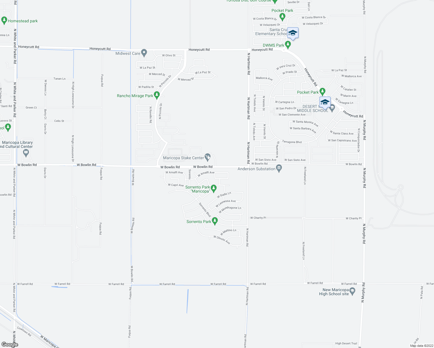 map of restaurants, bars, coffee shops, grocery stores, and more near 37137 West Amalfi Avenue in Maricopa
