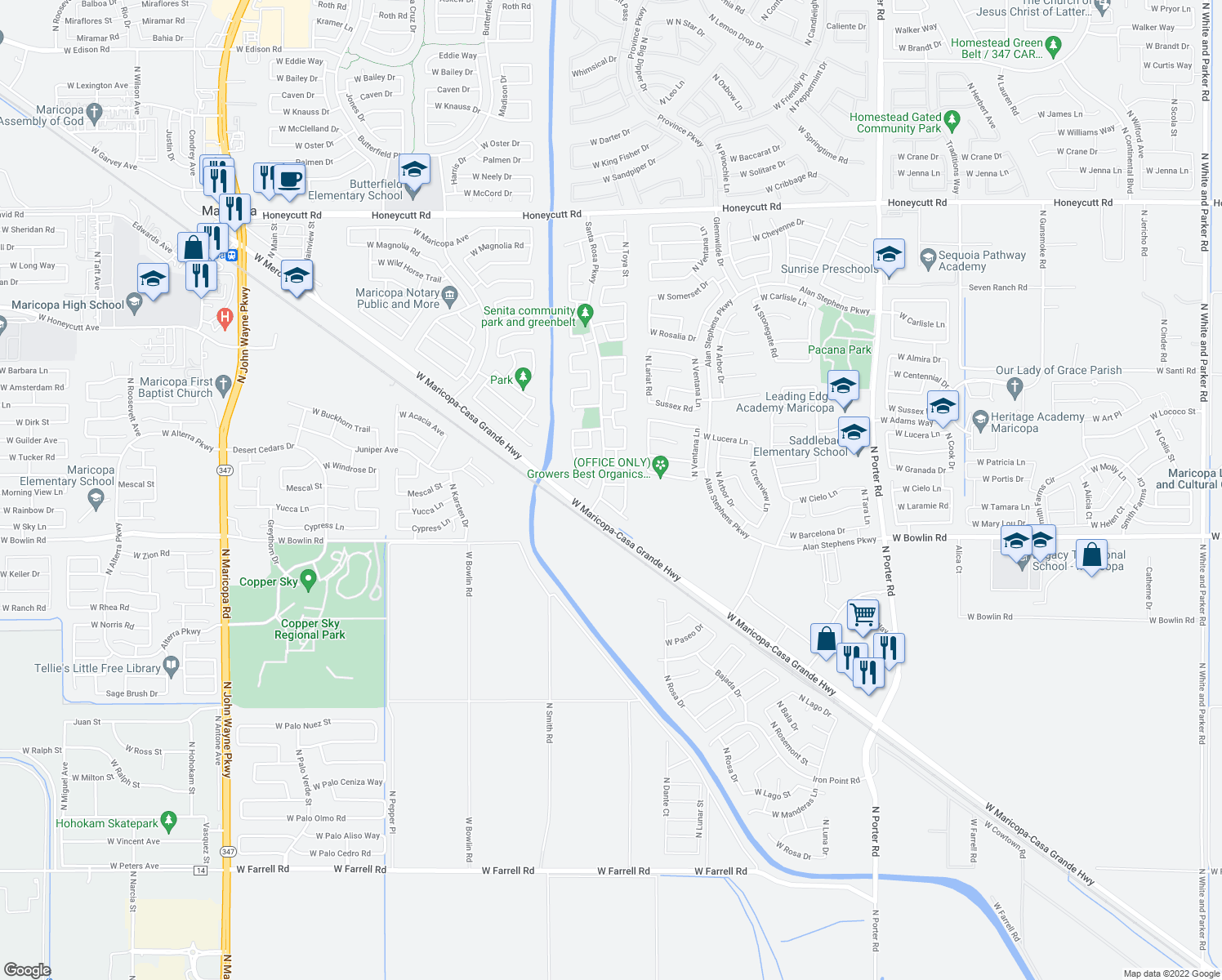 map of restaurants, bars, coffee shops, grocery stores, and more near 42811 West Raynon Street in Maricopa