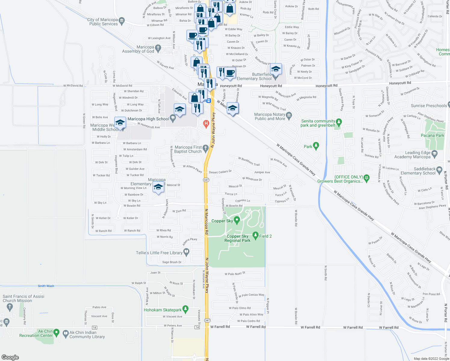 map of restaurants, bars, coffee shops, grocery stores, and more near 18366 North Cherry Lane in Maricopa