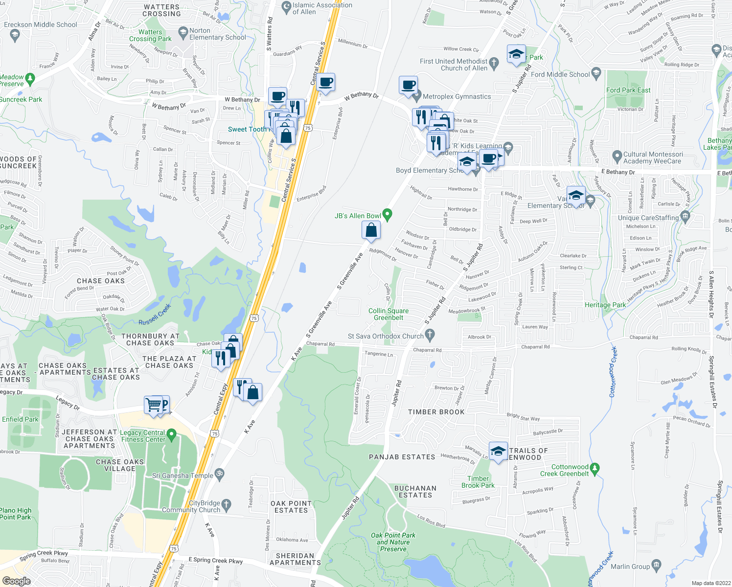map of restaurants, bars, coffee shops, grocery stores, and more near 37 Brewster Court in Allen