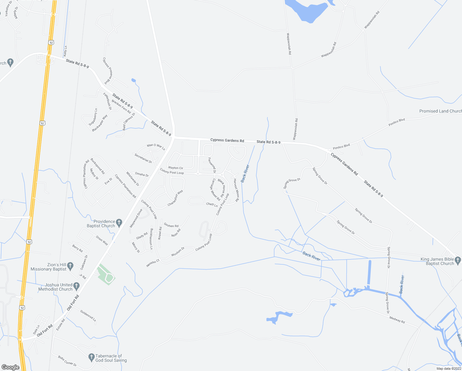 map of restaurants, bars, coffee shops, grocery stores, and more near 121 Harvest Moon Road in Moncks Corner