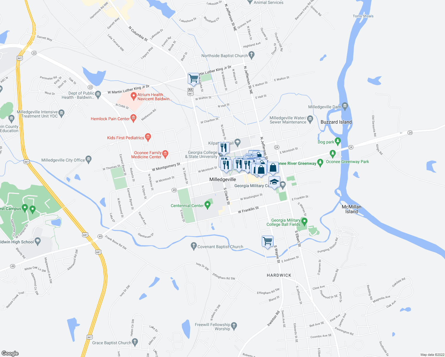 map of restaurants, bars, coffee shops, grocery stores, and more near 140 North Clark Street in Milledgeville