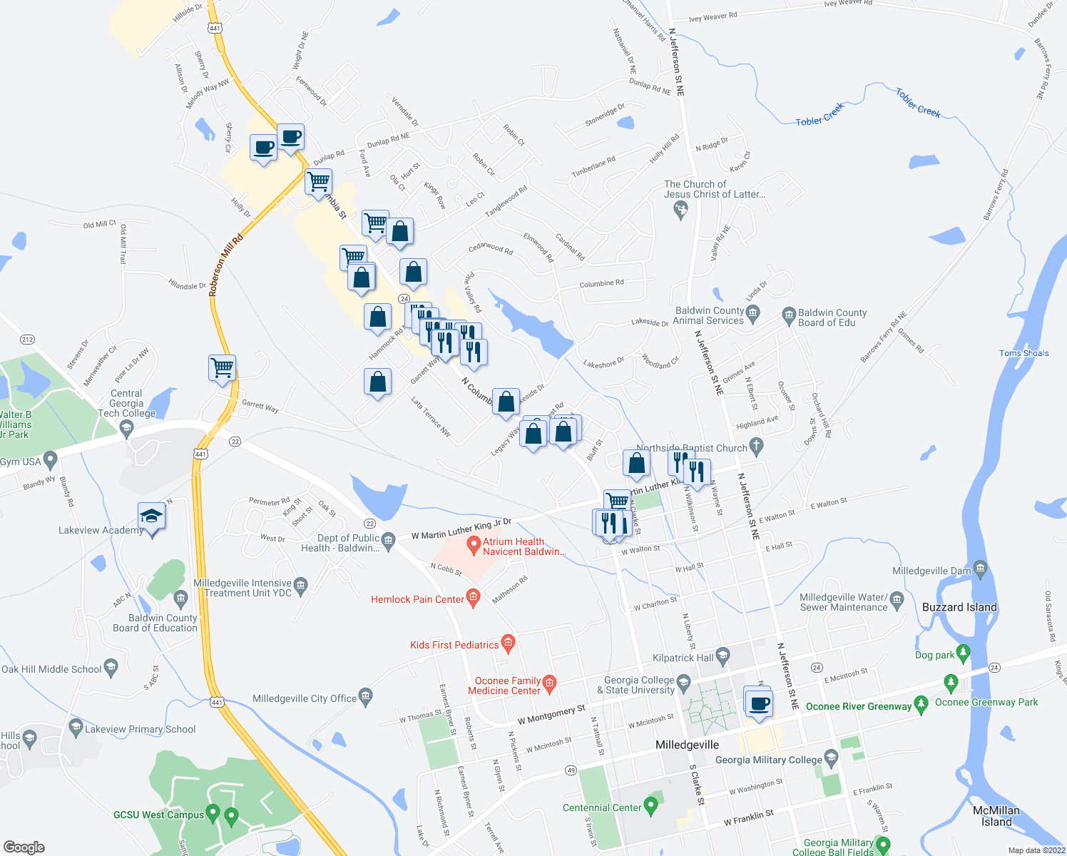 map of restaurants, bars, coffee shops, grocery stores, and more near 447-499 Forest Road in Milledgeville