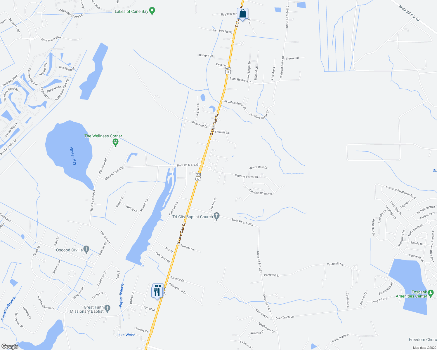 map of restaurants, bars, coffee shops, grocery stores, and more near 303 Sabal Palmetto Court in Moncks Corner