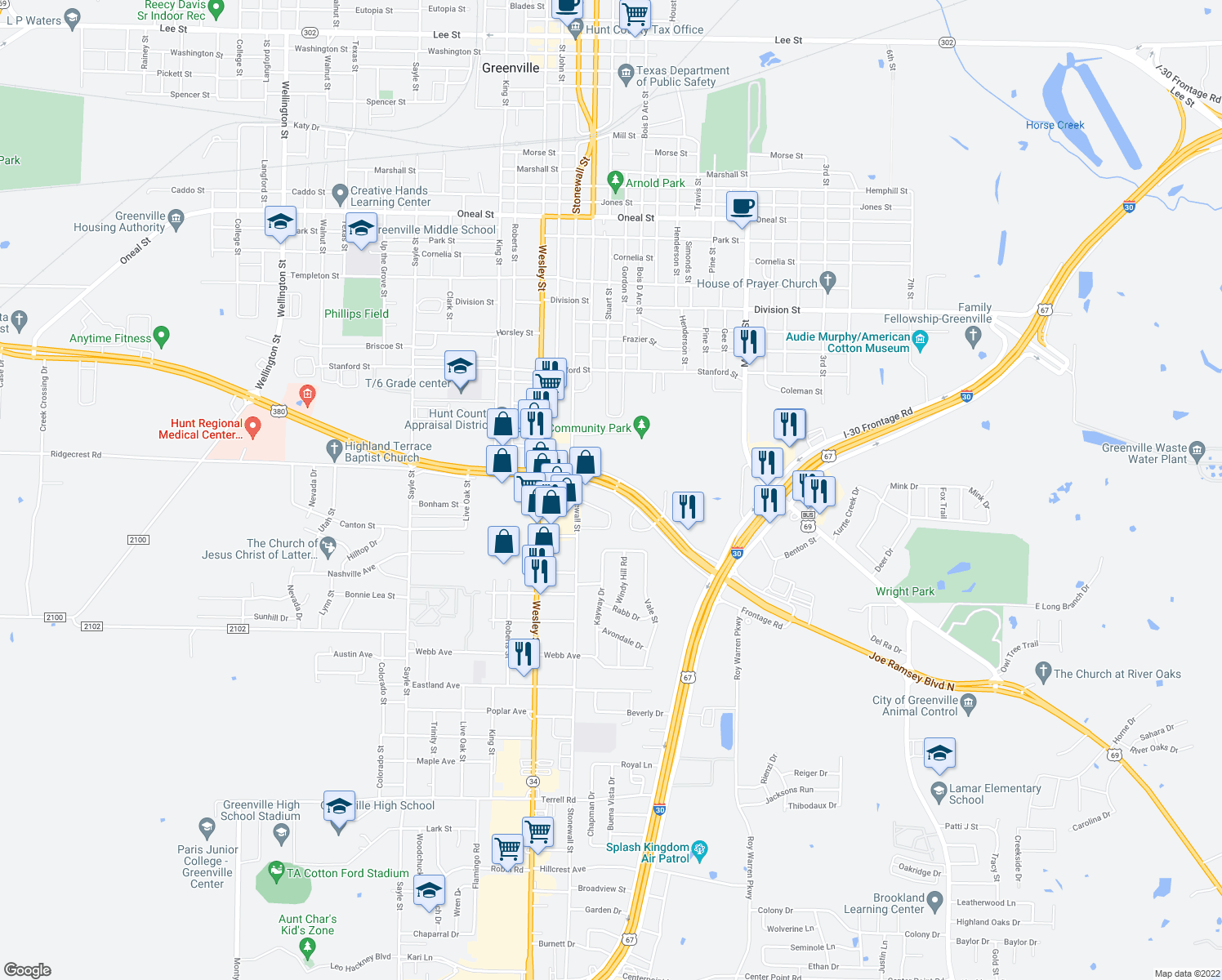 map of restaurants, bars, coffee shops, grocery stores, and more near 2302 Joe Ramsey Boulevard East in Greenville