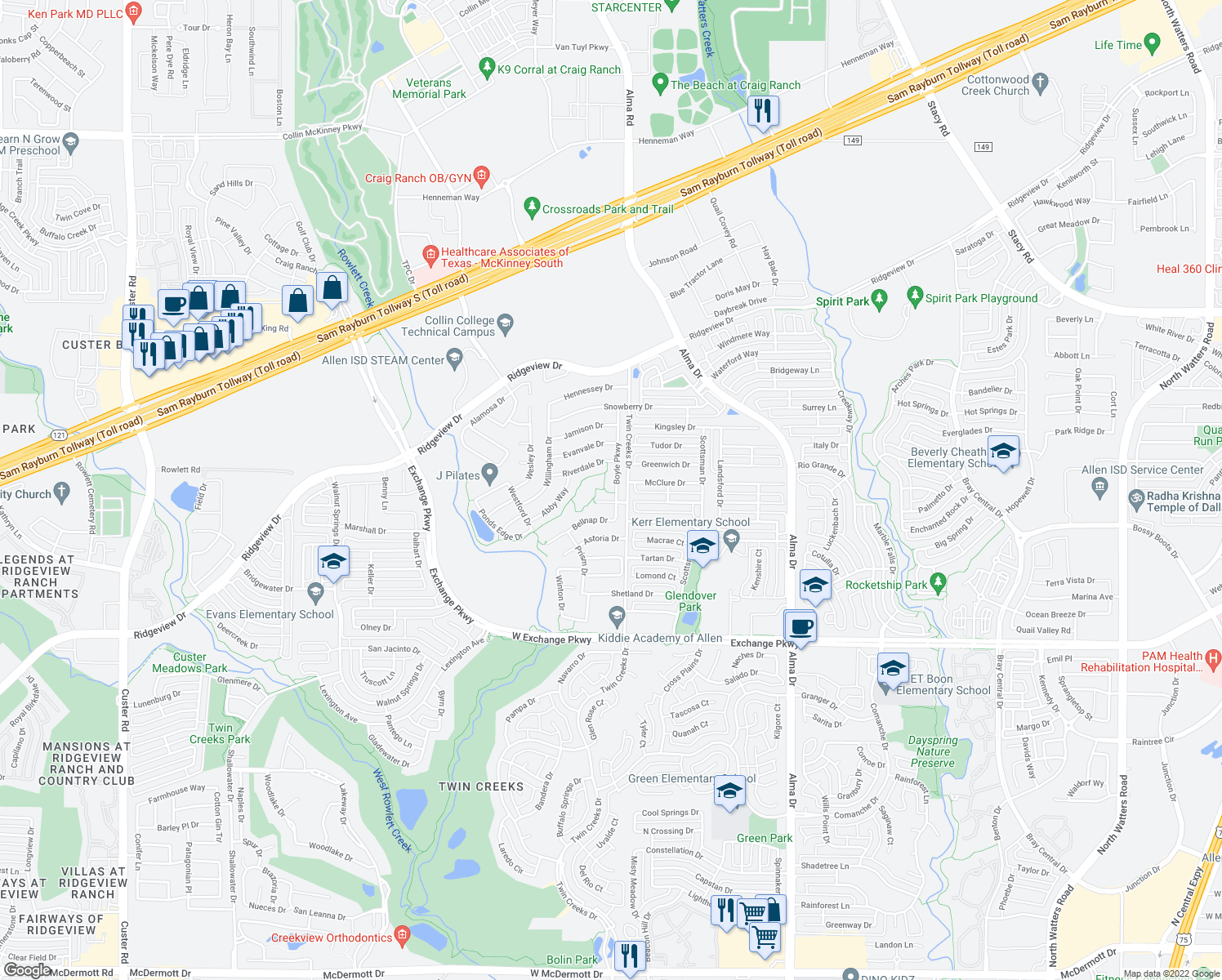 map of restaurants, bars, coffee shops, grocery stores, and more near 1493 Boyle Parkway in Allen