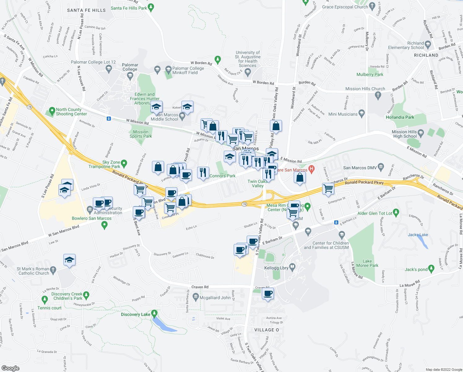 map of restaurants, bars, coffee shops, grocery stores, and more near 285 West San Marcos Boulevard in San Marcos