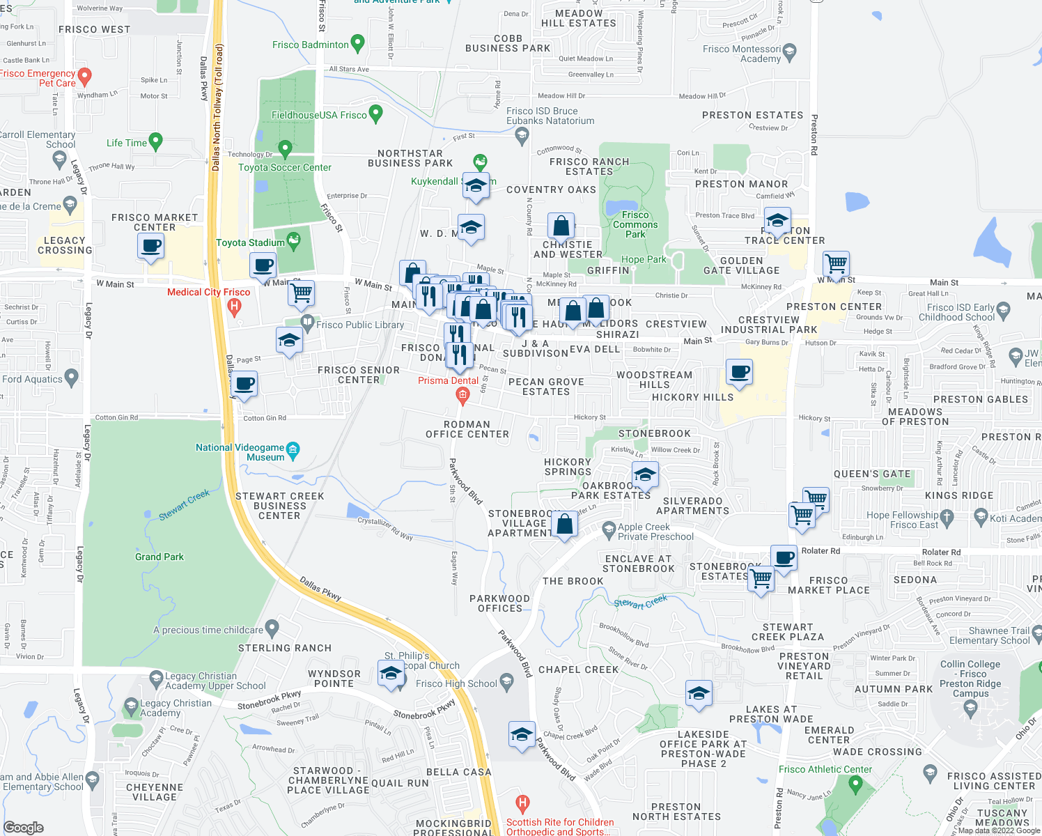 map of restaurants, bars, coffee shops, grocery stores, and more near 7700 Hickory Street in Frisco