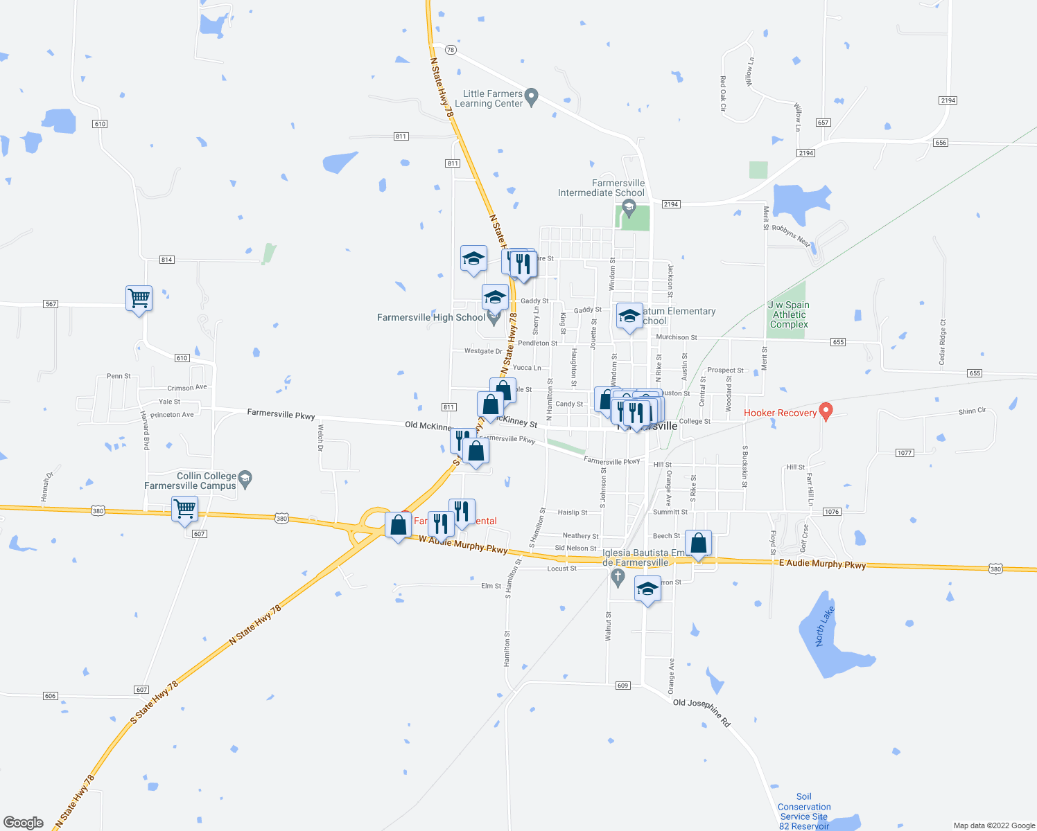 map of restaurants, bars, coffee shops, grocery stores, and more near 704 McKinney St in Farmersville