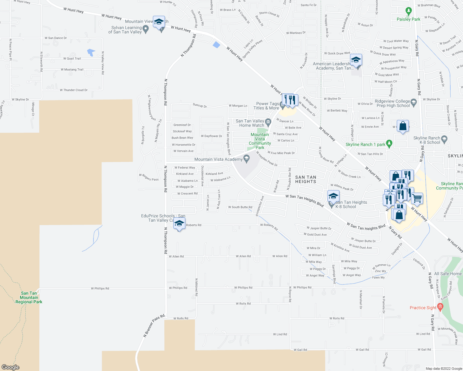 map of restaurants, bars, coffee shops, grocery stores, and more near 3883 West Maggie Drive in Queen Creek