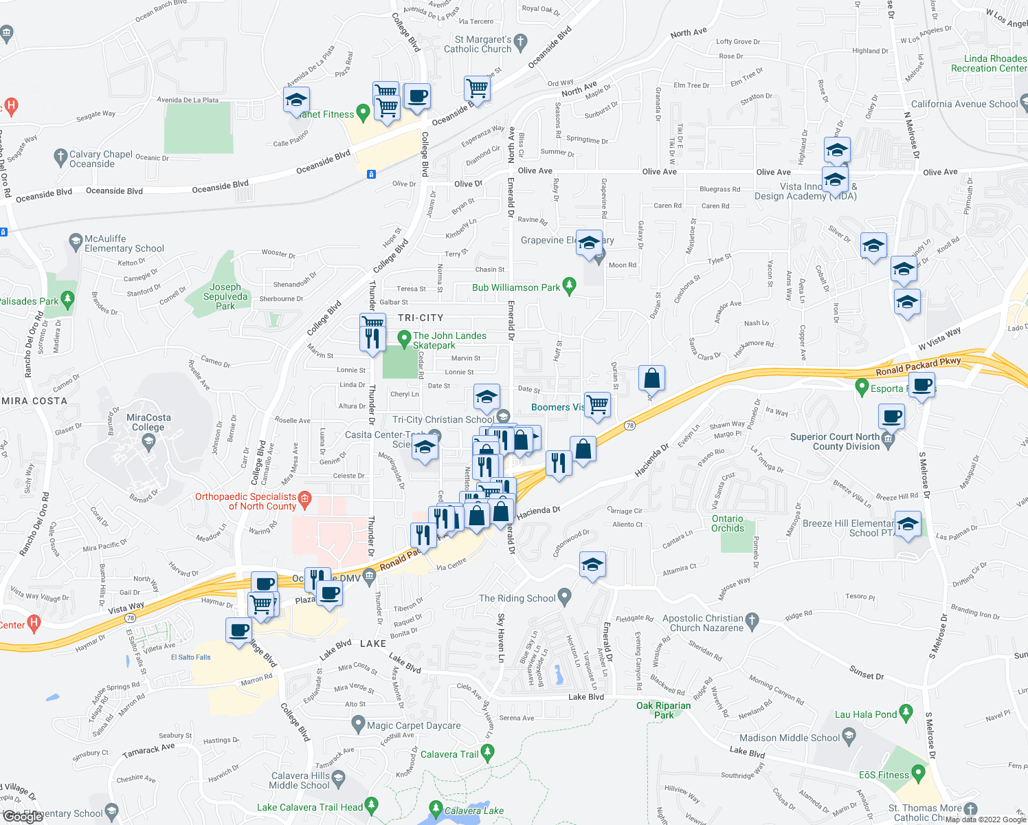 map of restaurants, bars, coffee shops, grocery stores, and more near 289-299 Emerald Drive in Vista