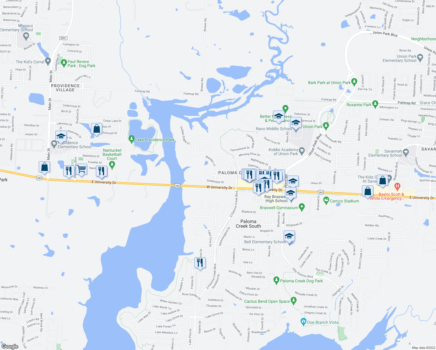 map of restaurants, bars, coffee shops, grocery stores, and more near 800 Warbler in Aubrey