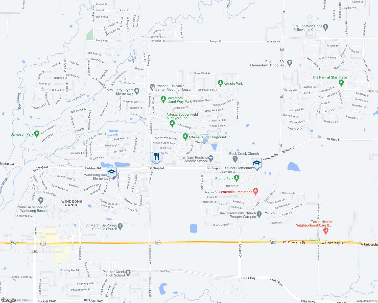 map of restaurants, bars, coffee shops, grocery stores, and more near 1412 Nacona Drive in Prosper