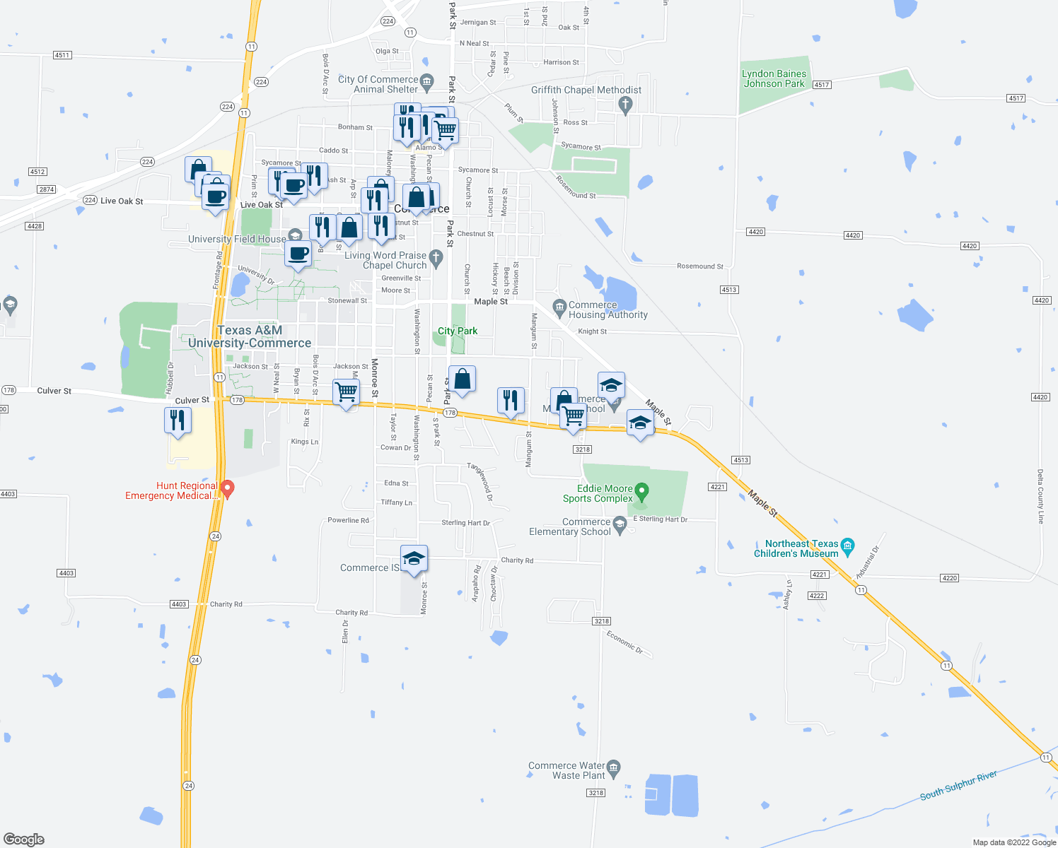 map of restaurants, bars, coffee shops, grocery stores, and more near Mangum Street in Commerce