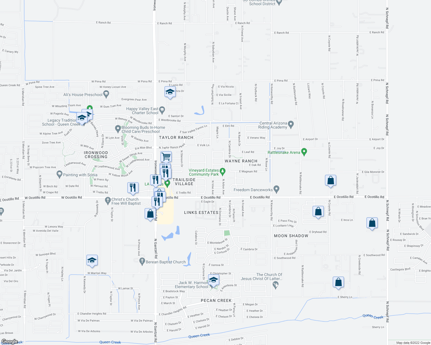map of restaurants, bars, coffee shops, grocery stores, and more near 1053 E Magnum Rd in San Tan Valley